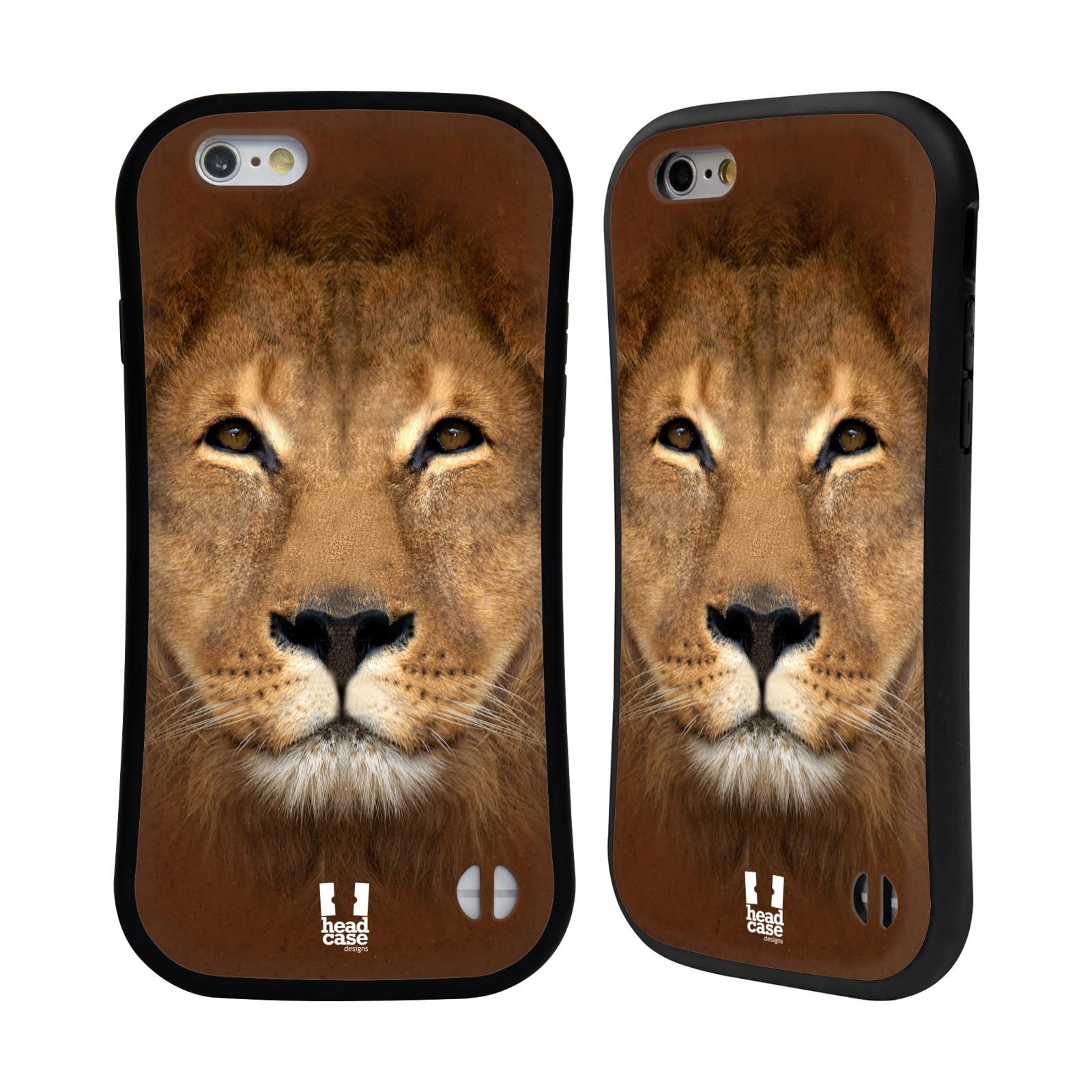 HEAD CASE silikon/plast odolný obal na mobil Apple Iphone 6/6S vzor Zvířecí tváře 2 Lev