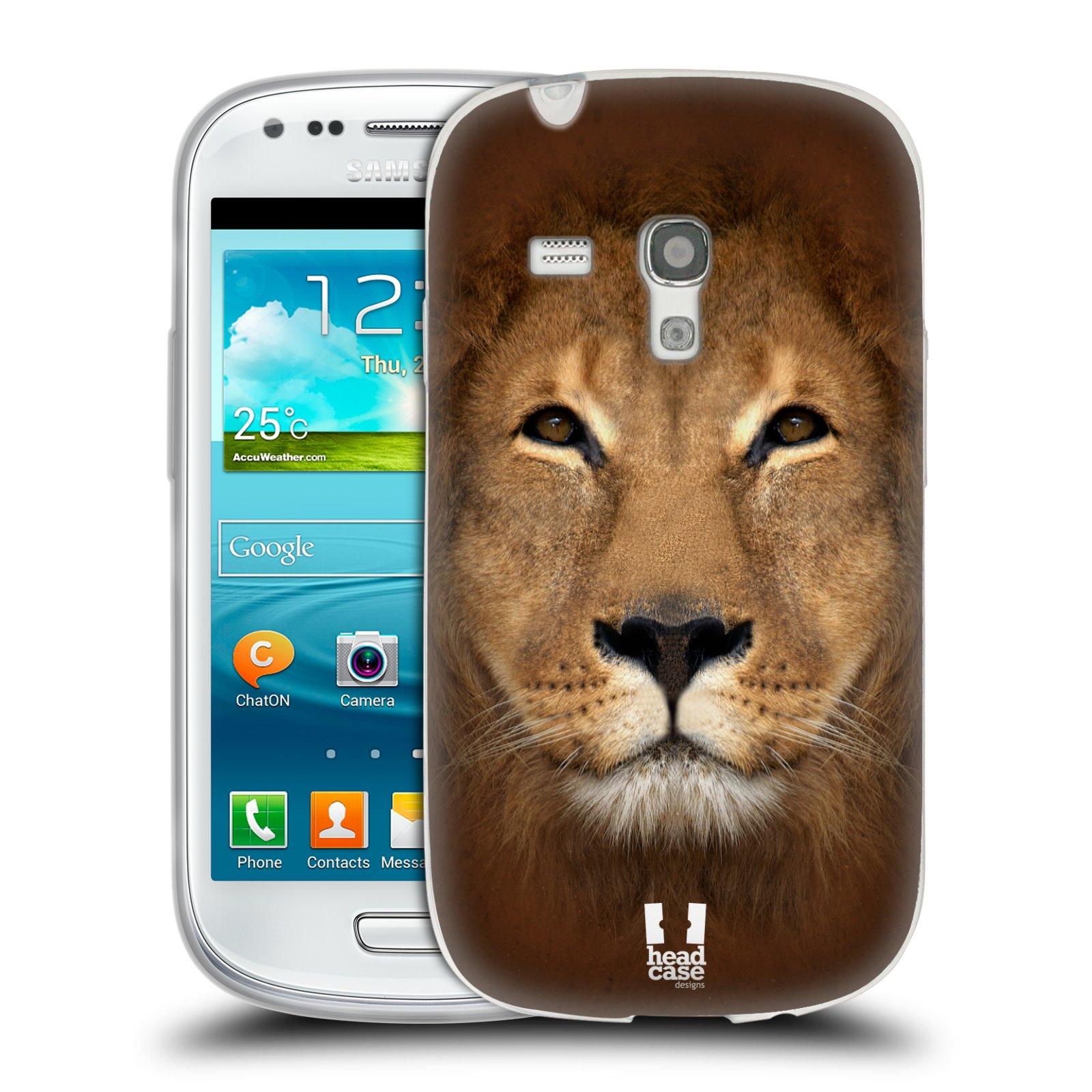 HEAD CASE silikonový obal na mobil Samsung Galaxy S3 MINI i8190 vzor Zvířecí tváře 2 Lev