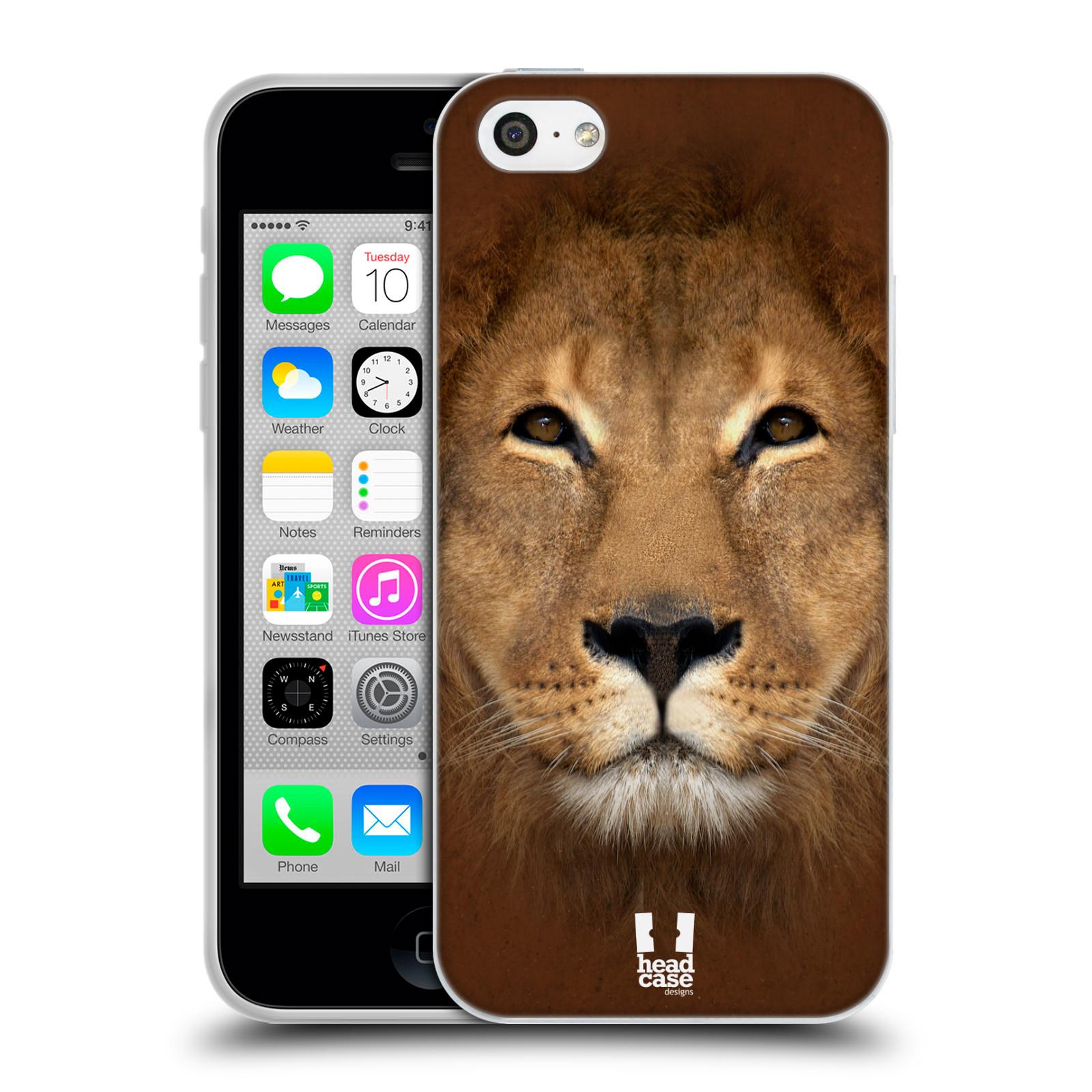 HEAD CASE silikonový obal na mobil Apple Iphone 5C vzor Zvířecí tváře 2 Lev