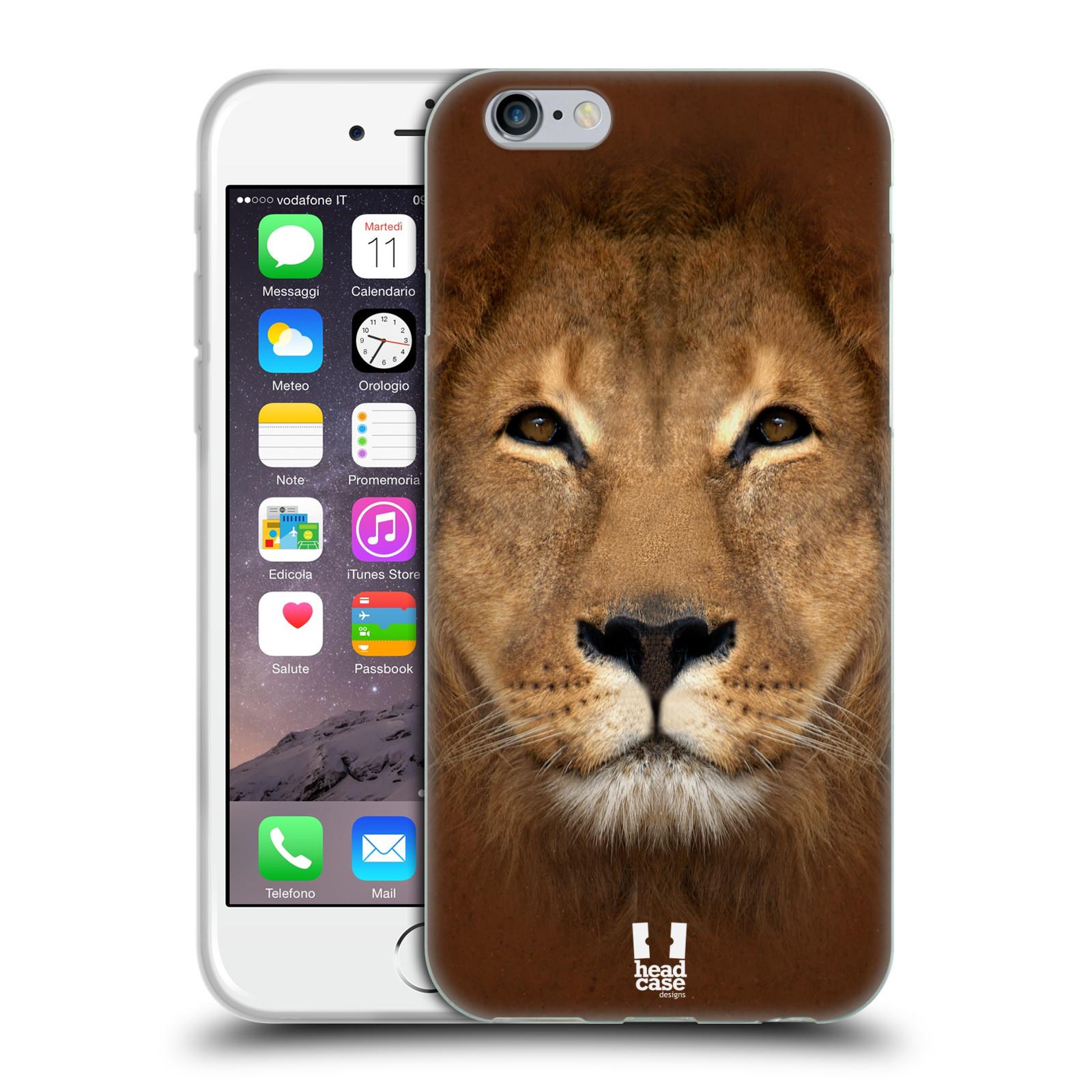 HEAD CASE silikonový obal na mobil Apple Iphone 6/6S vzor Zvířecí tváře 2 Lev
