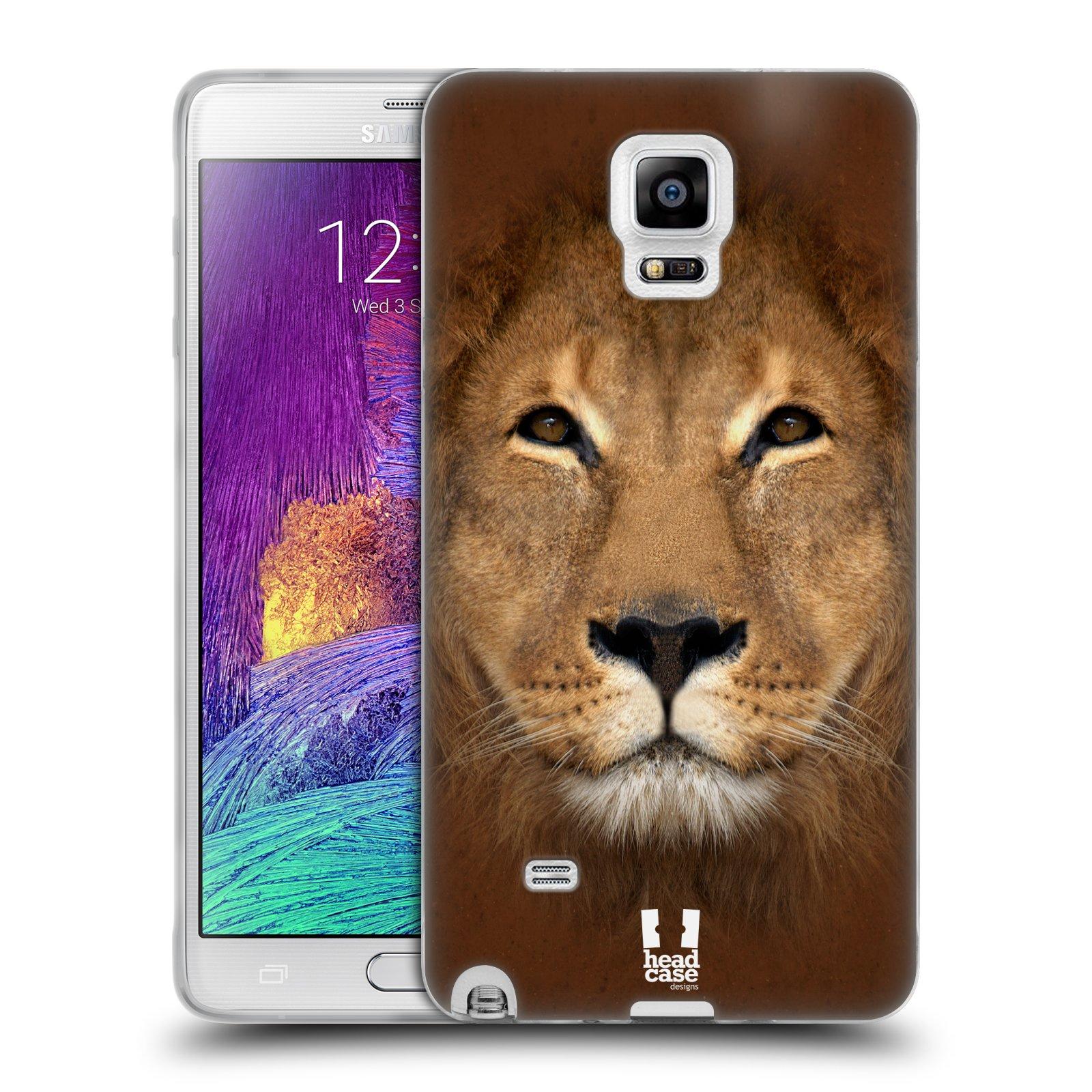 HEAD CASE silikonový obal na mobil Samsung Galaxy Note 4 (N910) vzor Zvířecí tváře 2 Lev