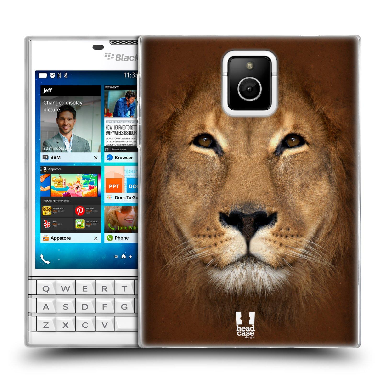 HEAD CASE silikonový obal na mobil Blackberry PASSPORT vzor Zvířecí tváře 2 Lev