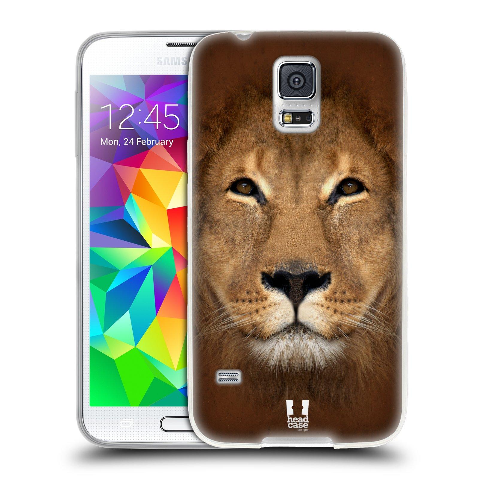 HEAD CASE silikonový obal na mobil Samsung Galaxy S5/S5 NEO vzor Zvířecí tváře 2 Lev