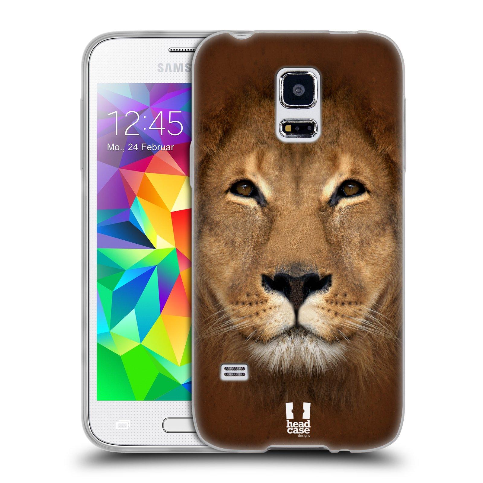 HEAD CASE silikonový obal na mobil Samsung Galaxy S5 MINI vzor Zvířecí tváře 2 Lev