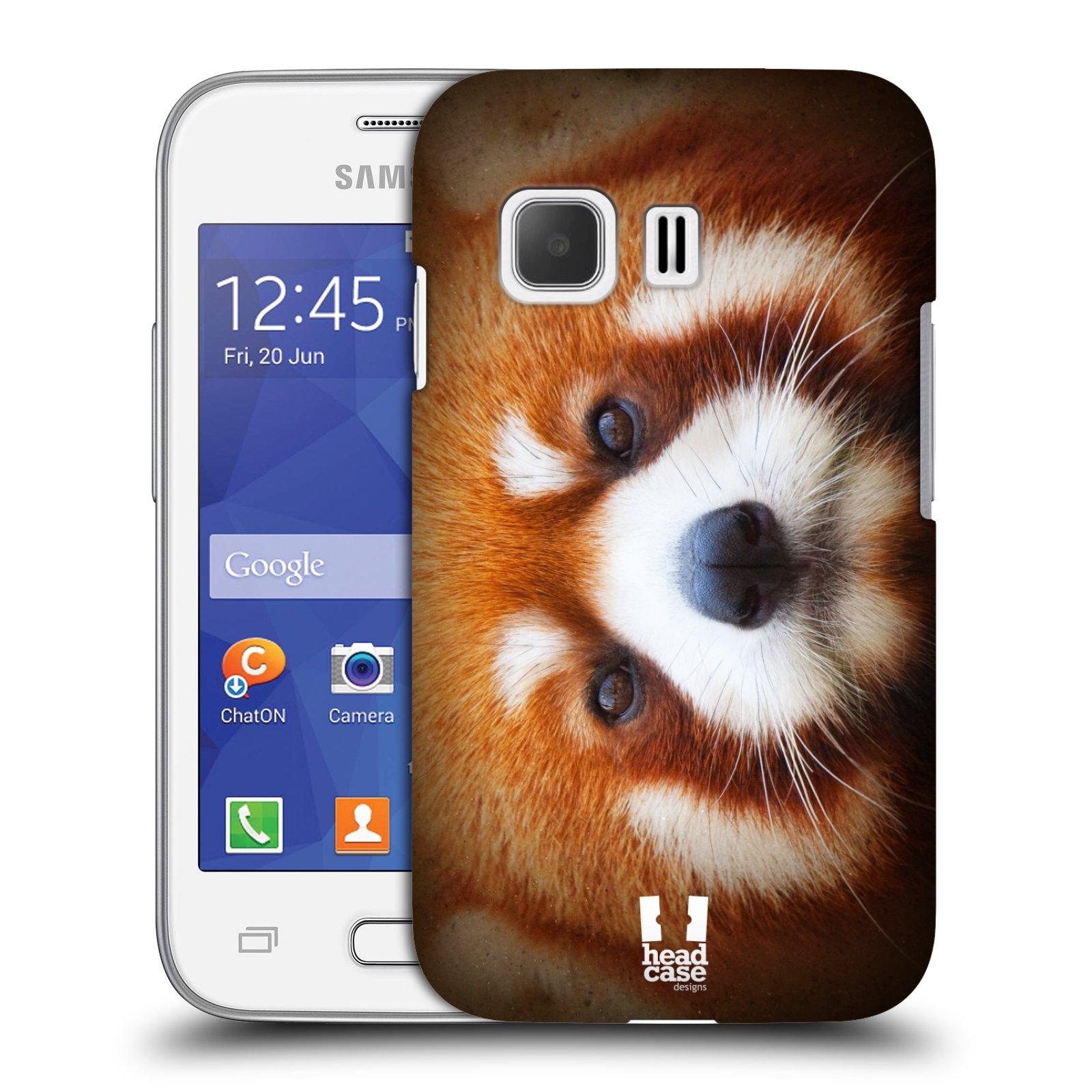 HEAD CASE plastový obal na mobil SAMSUNG Galaxy Young 2 (G130) vzor Zvířecí tváře 2 medvěd panda rudá