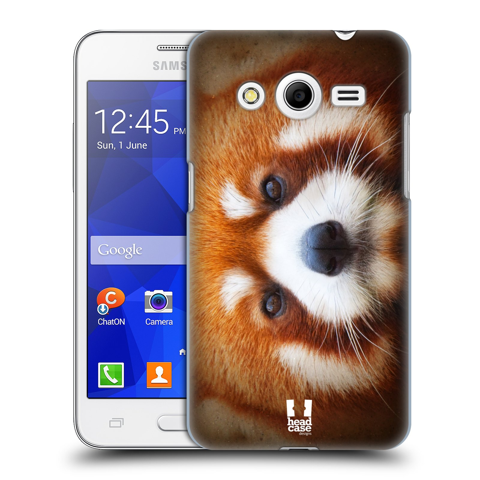 HEAD CASE plastový obal na mobil SAMSUNG GALAXY Core 2 (G355H) vzor Zvířecí tváře 2 medvěd panda rudá