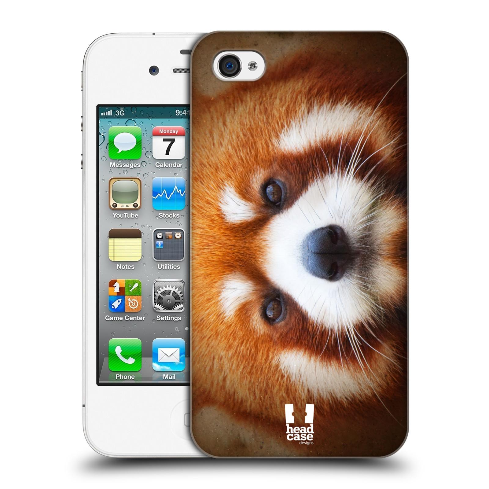 HEAD CASE plastový obal na mobil Apple Iphone 4/4S vzor Zvířecí tváře 2 medvěd panda rudá