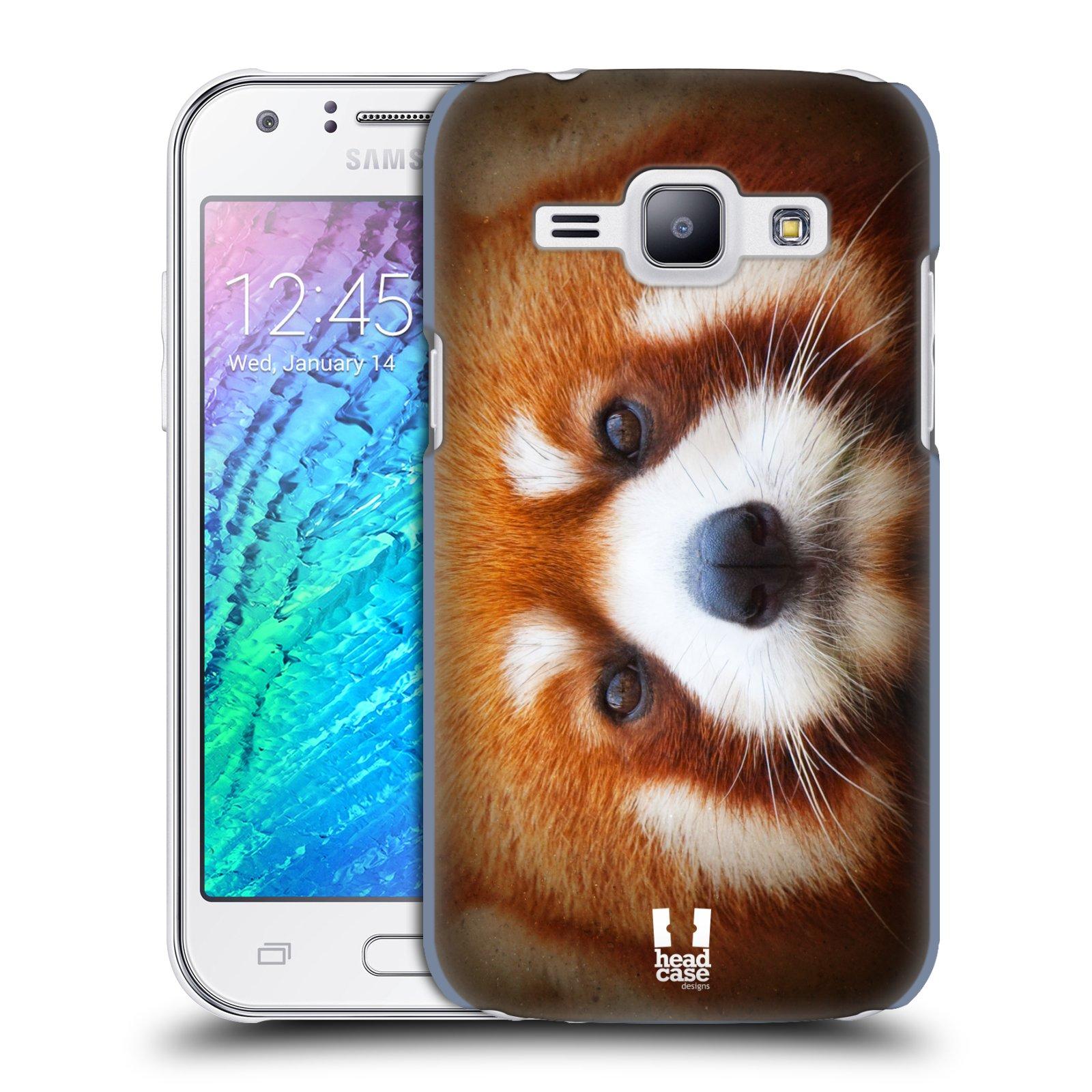 HEAD CASE plastový obal na mobil SAMSUNG Galaxy J1, J100 vzor Zvířecí tváře 2 medvěd panda rudá
