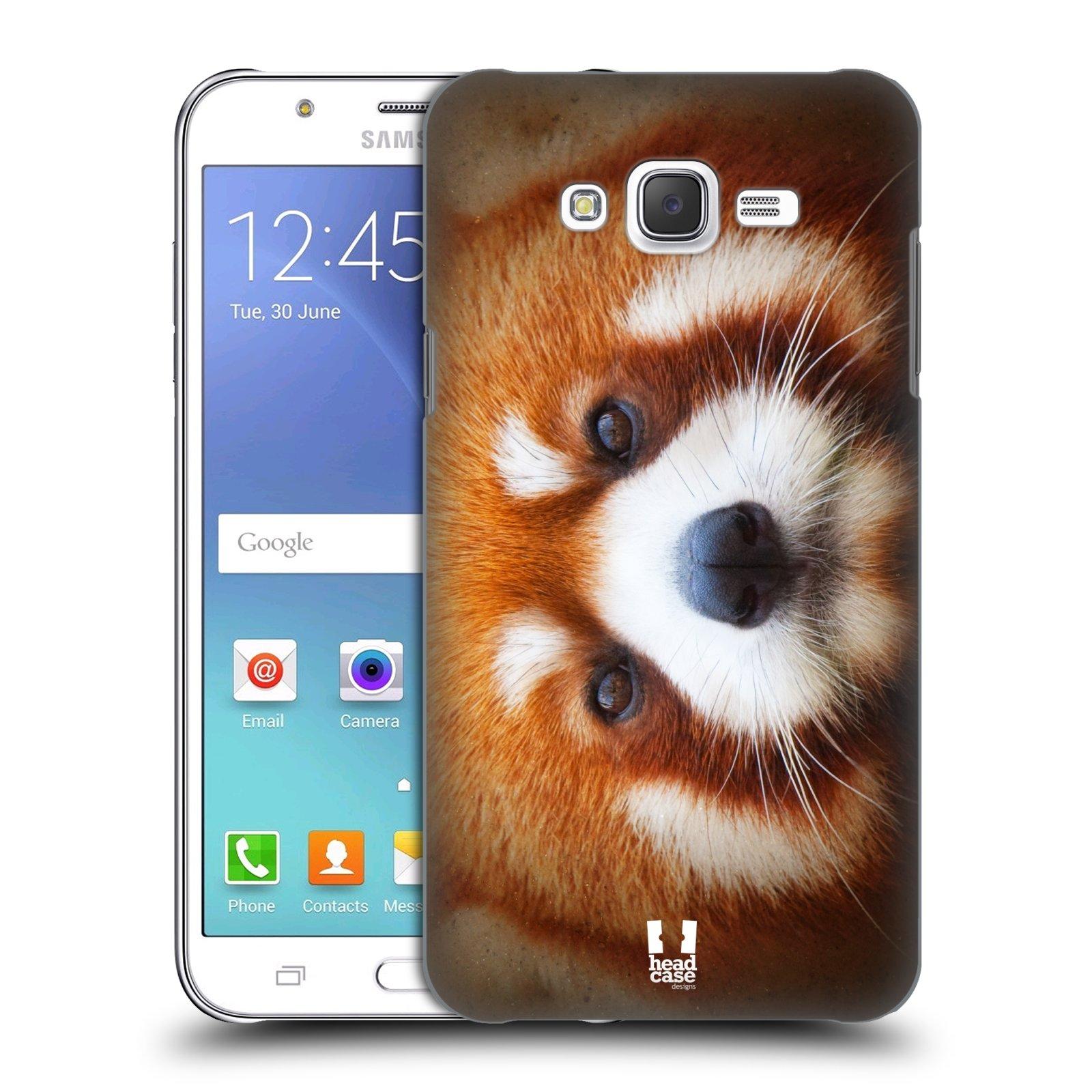 HEAD CASE plastový obal na mobil SAMSUNG Galaxy J7, J700 vzor Zvířecí tváře 2 medvěd panda rudá