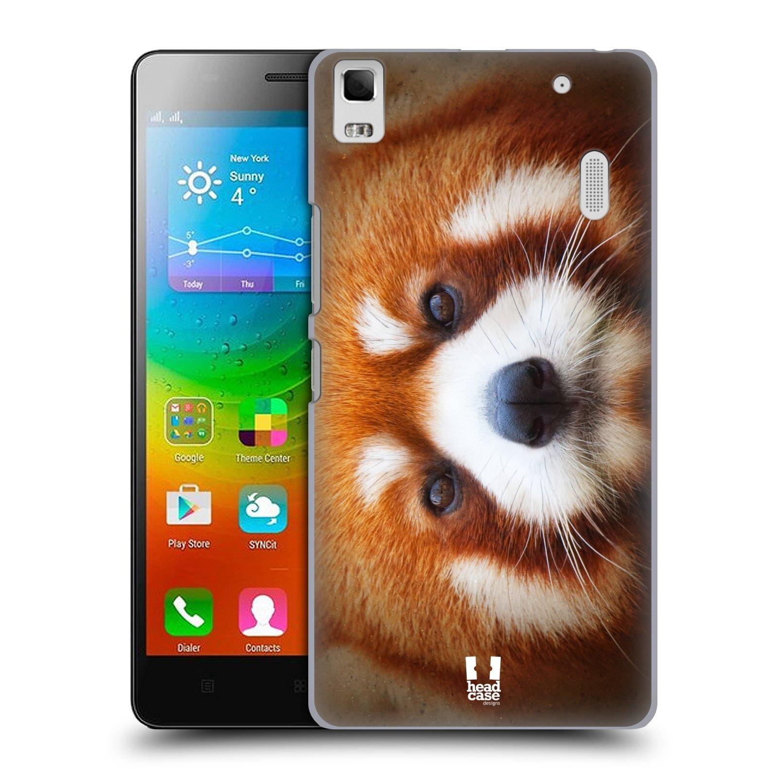 HEAD CASE pevný plastový obal na mobil LENOVO A7000 / A7000 DUAL / K3 NOTE vzor Zvířecí tváře 2 medvěd panda rudá