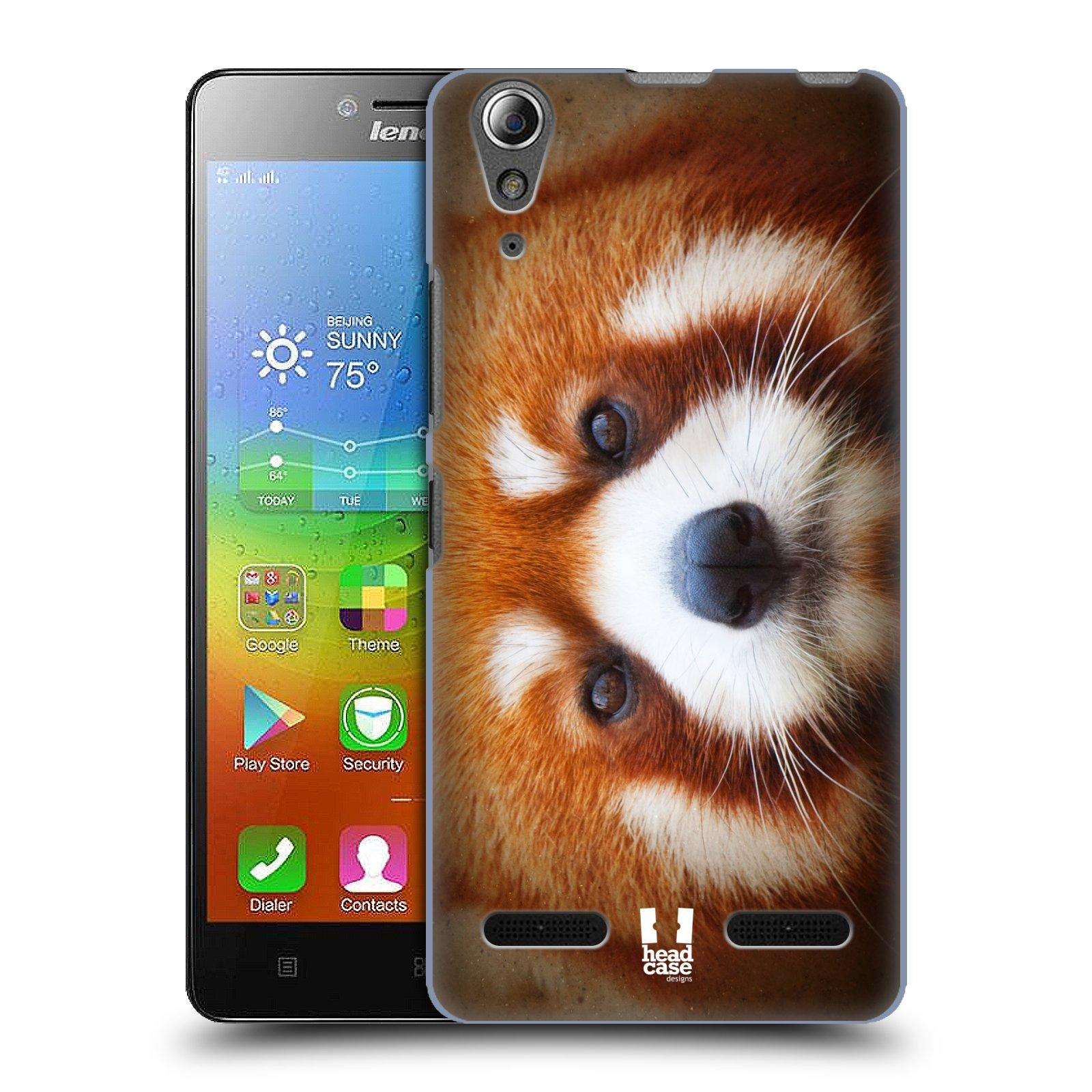 HEAD CASE pevný plastový obal na mobil LENOVO A6000 / A6000 PLUS vzor Zvířecí tváře 2 medvěd panda rudá