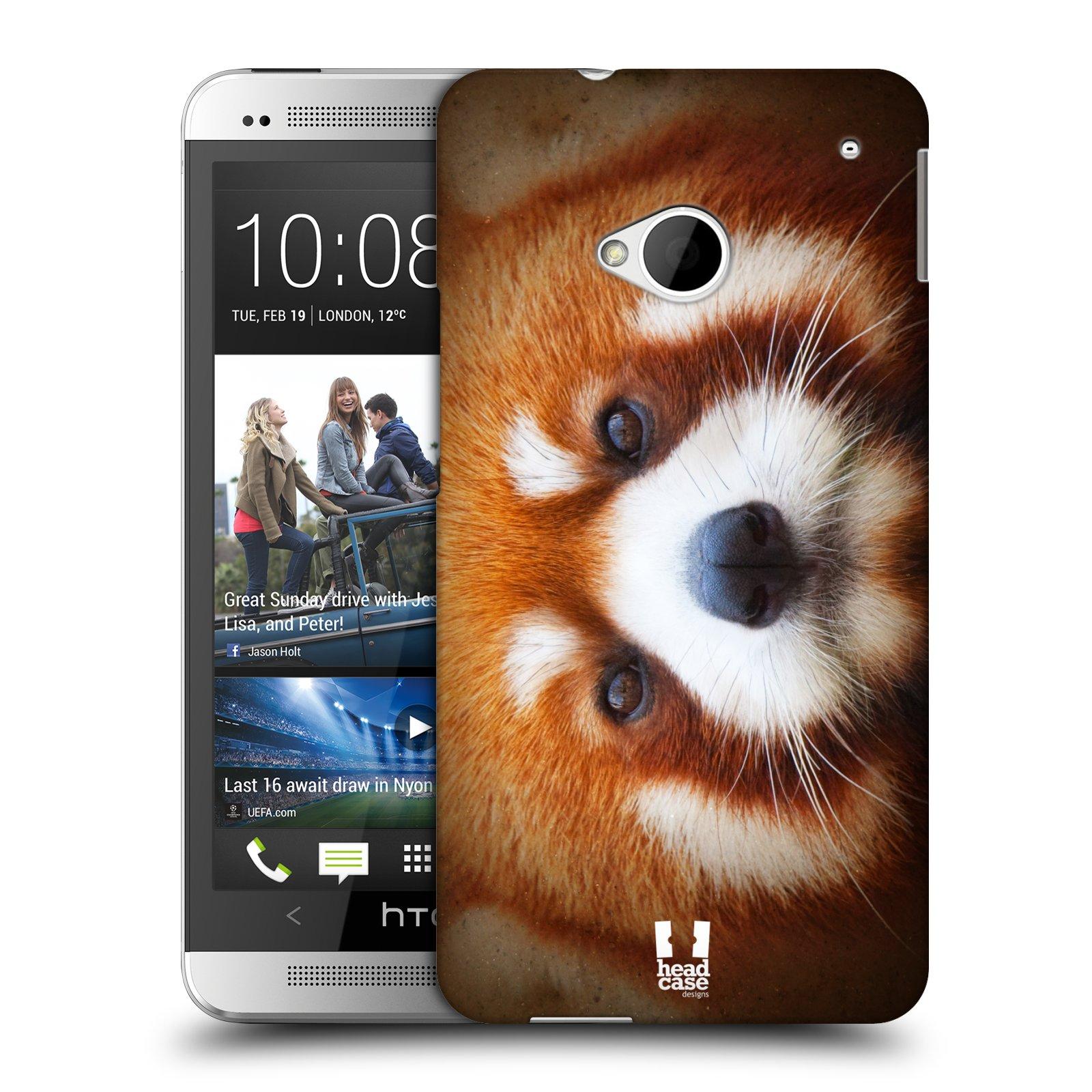 HEAD CASE plastový obal na mobil HTC One (M7) vzor Zvířecí tváře 2 medvěd panda rudá