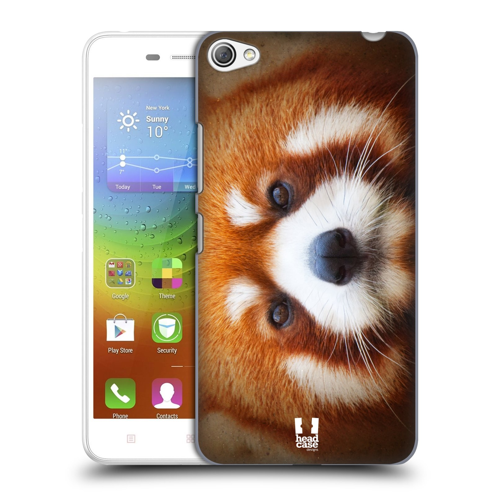 HEAD CASE pevný plastový obal na mobil LENOVO S60 / LENOVO S60 DUAL SIM vzor Zvířecí tváře 2 medvěd panda rudá