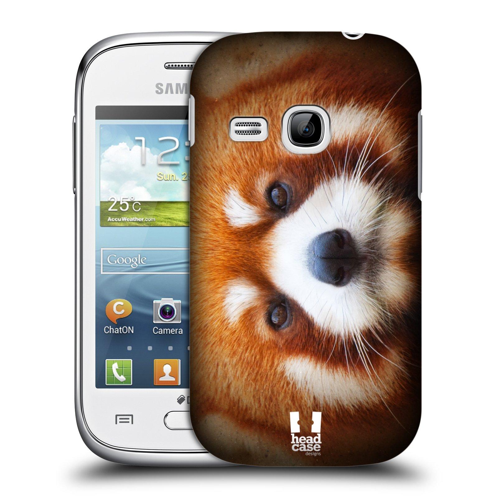 HEAD CASE plastový obal na mobil SAMSUNG Galaxy Young S6310 vzor Zvířecí tváře 2 medvěd panda rudá