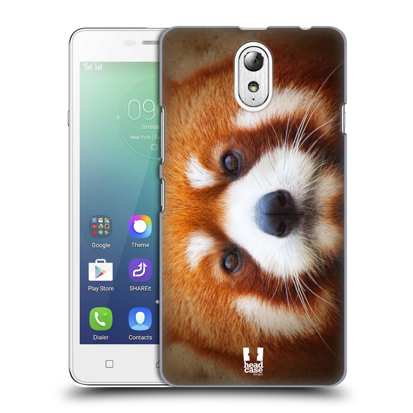 HEAD CASE pevný plastový obal na mobil LENOVO VIBE P1m / LENOVO VIBE p1m DUAL SIM vzor Zvířecí tváře 2 medvěd panda rudá