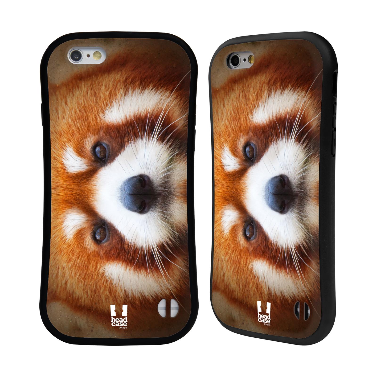 HEAD CASE silikon/plast odolný obal na mobil Apple Iphone 6/6S vzor Zvířecí tváře 2 medvěd panda rudá