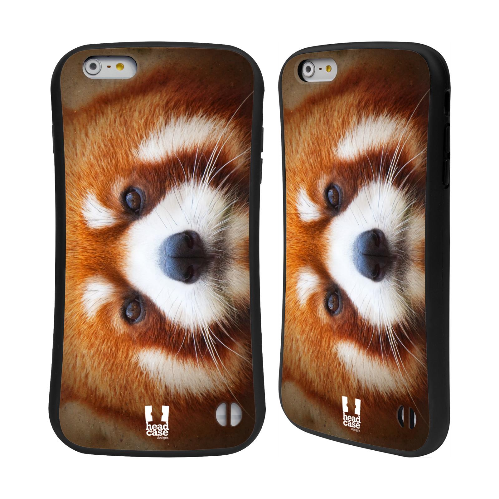 HEAD CASE silikon/plast odolný obal na mobil Apple Iphone 6 PLUS / 6S PLUS vzor Zvířecí tváře 2 medvěd panda rudá
