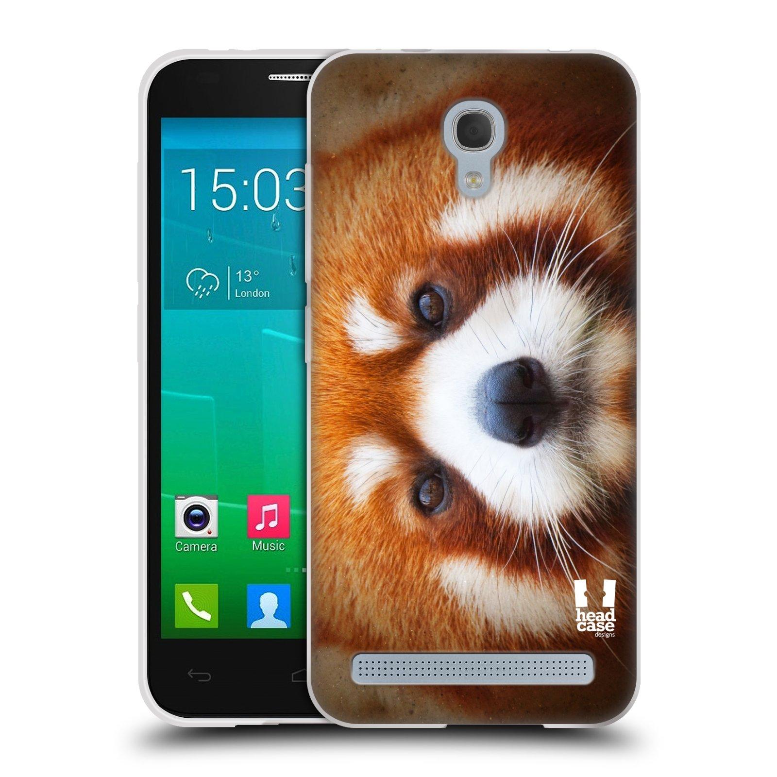HEAD CASE silikonový obal na mobil Alcatel Idol 2 MINI S 6036Y vzor Zvířecí tváře 2 medvěd panda rudá