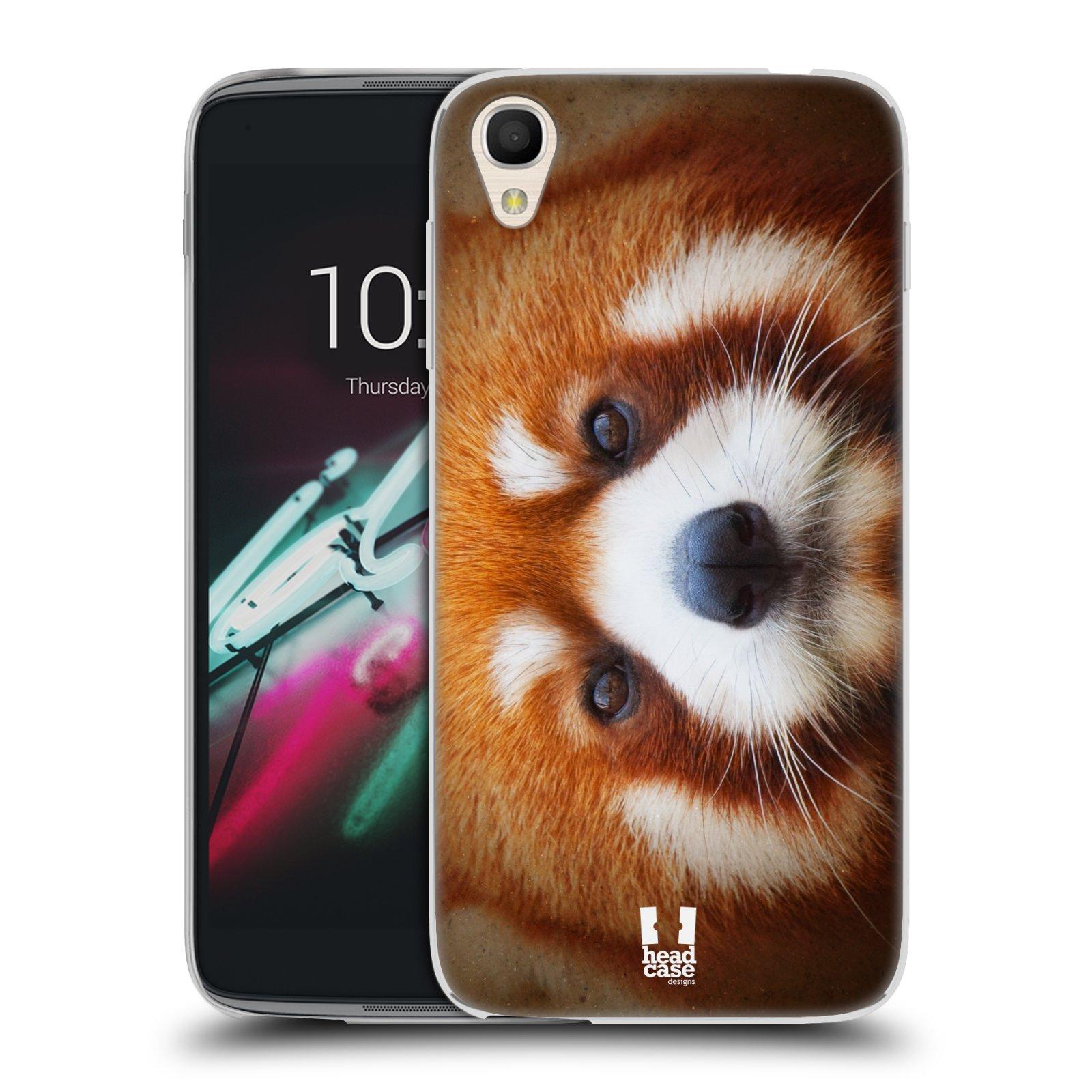 HEAD CASE silikonový obal na mobil Alcatel Idol 3 OT-6039Y (4.7) vzor Zvířecí tváře 2 medvěd panda rudá