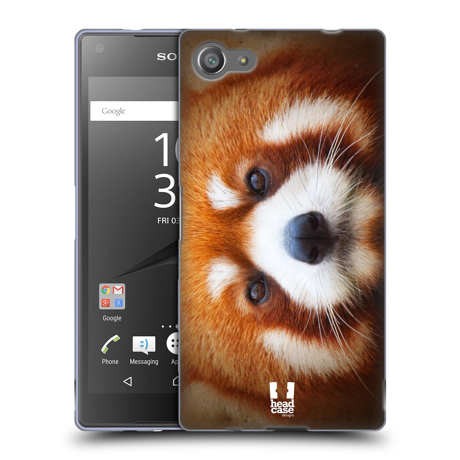 HEAD CASE silikonový obal na mobil Sony Xperia Z5 COMPACT vzor Zvířecí tváře 2 medvěd panda rudá