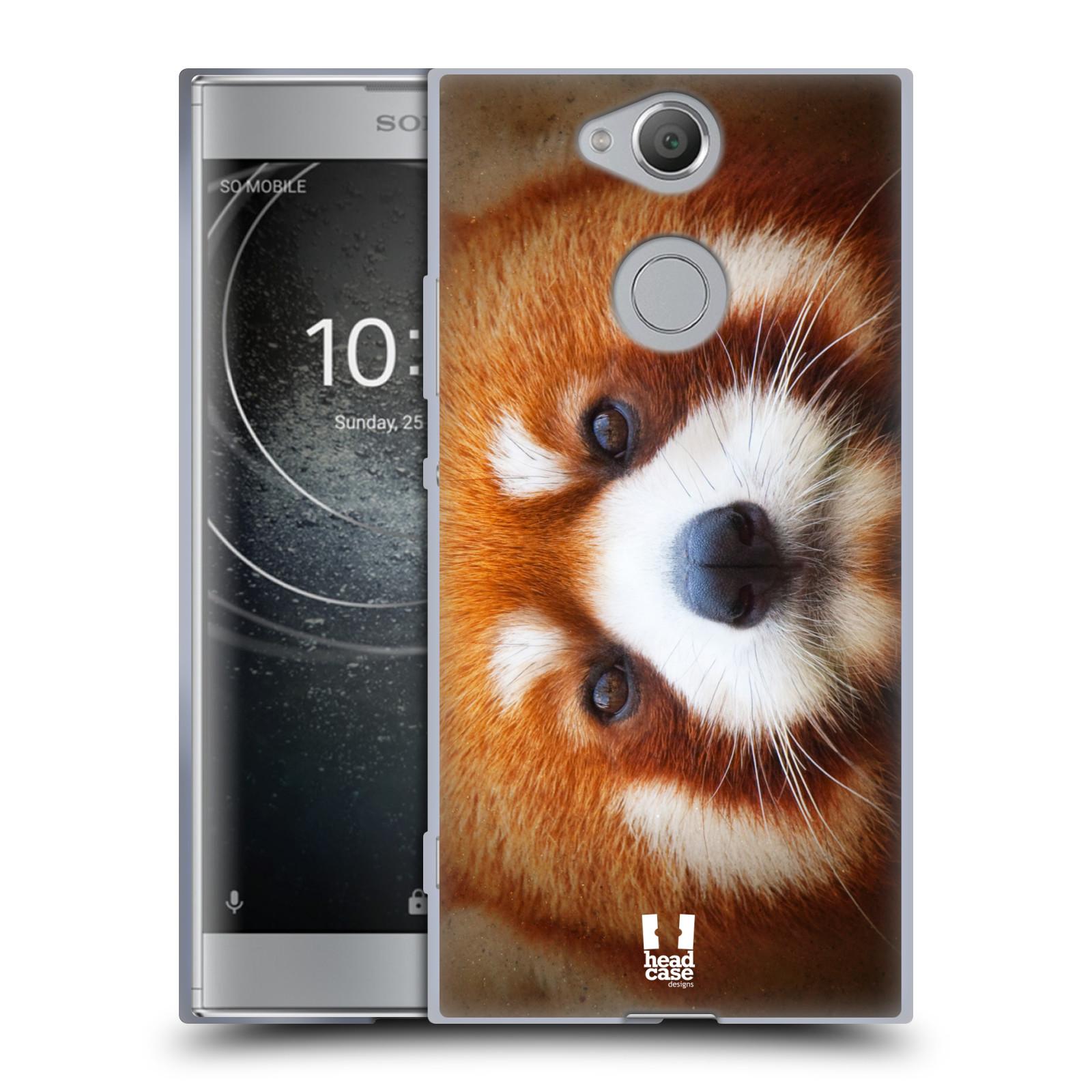Pouzdro na mobil Sony Xperia XA2 (DUAL SIM, SINGLE SIM) vzor Zvířecí tváře 2 medvěd panda rudá