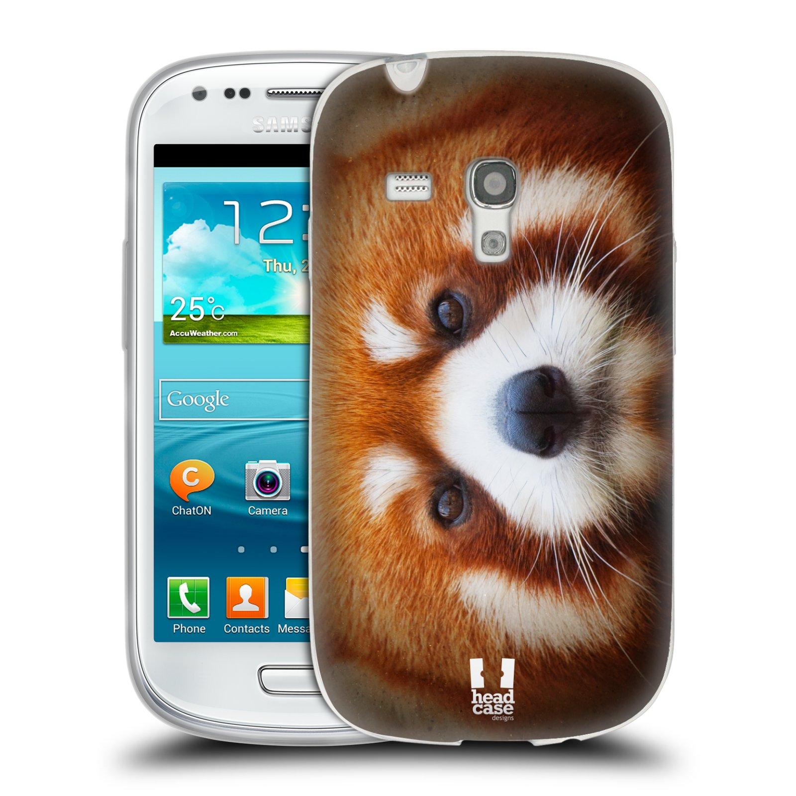 HEAD CASE silikonový obal na mobil Samsung Galaxy S3 MINI i8190 vzor Zvířecí tváře 2 medvěd panda rudá