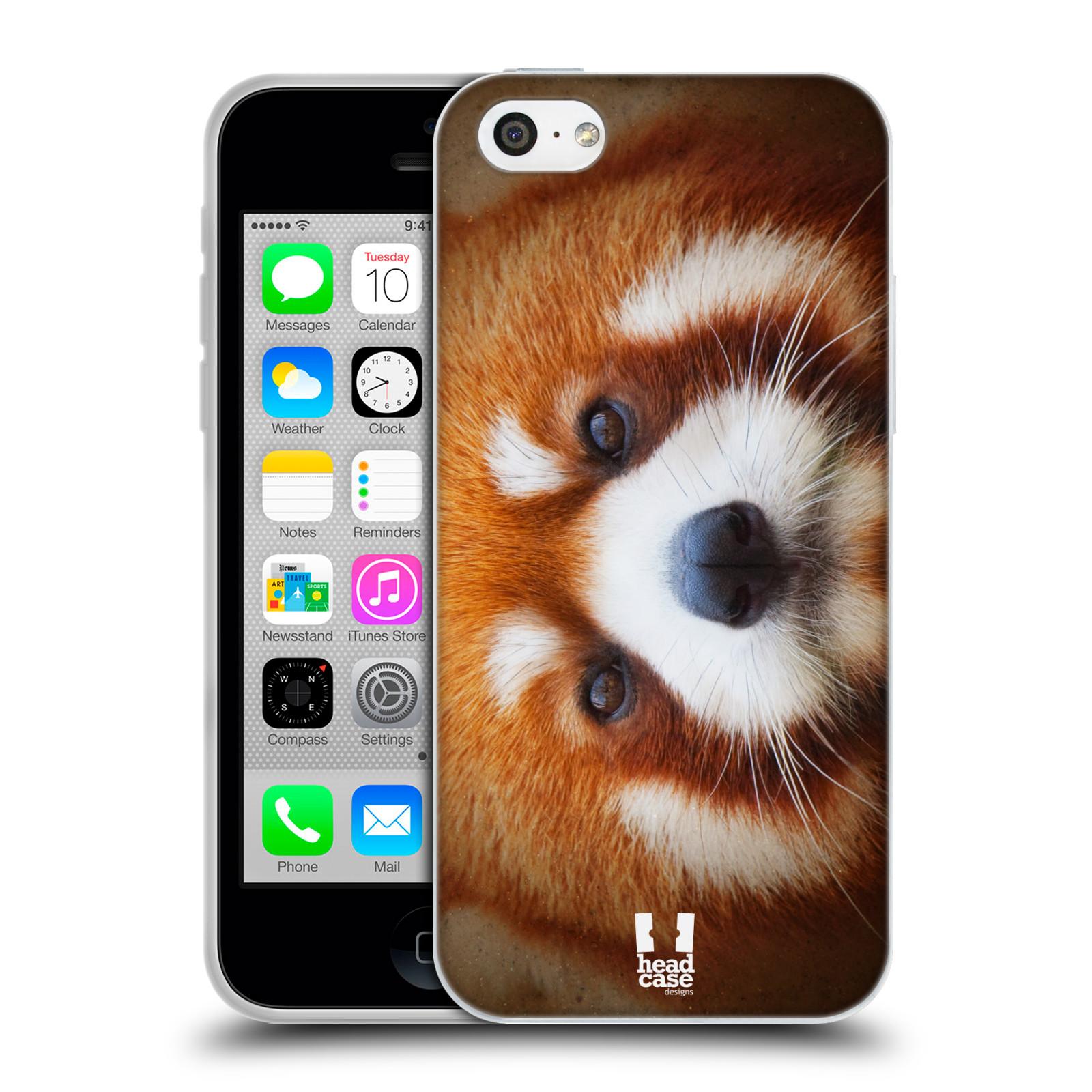 HEAD CASE silikonový obal na mobil Apple Iphone 5C vzor Zvířecí tváře 2 medvěd panda rudá