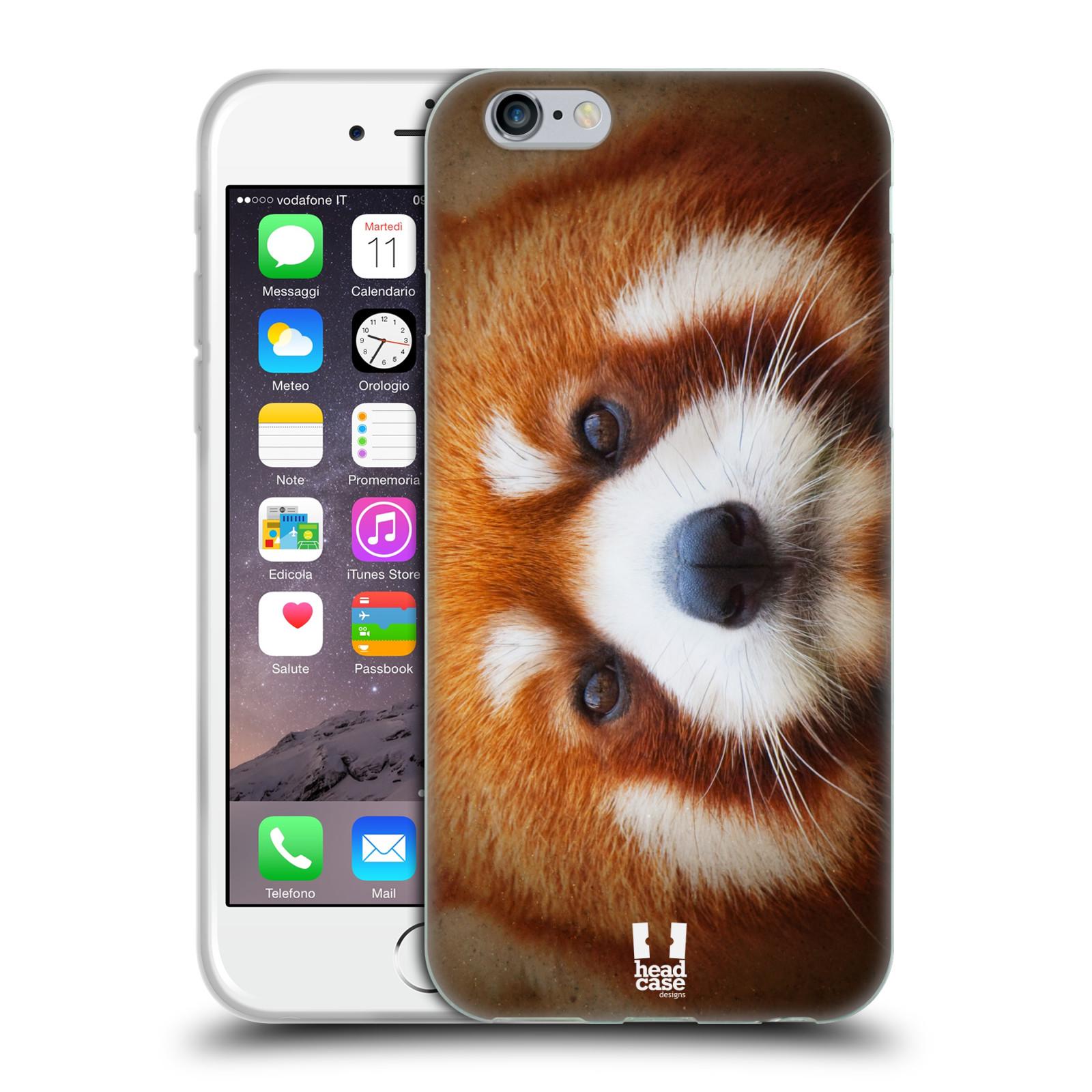 HEAD CASE silikonový obal na mobil Apple Iphone 6/6S vzor Zvířecí tváře 2 medvěd panda rudá