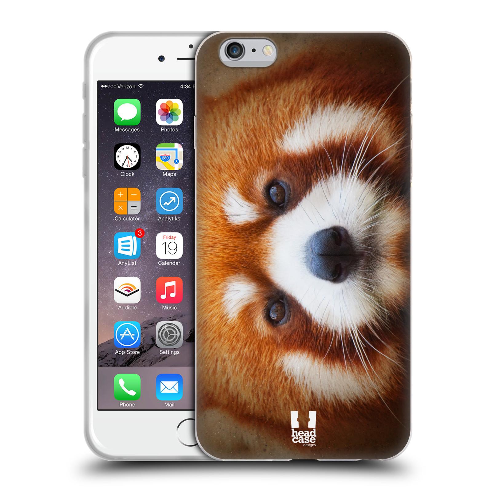 HEAD CASE silikonový obal na mobil Apple Iphone 6 PLUS/ 6S PLUS vzor Zvířecí tváře 2 medvěd panda rudá