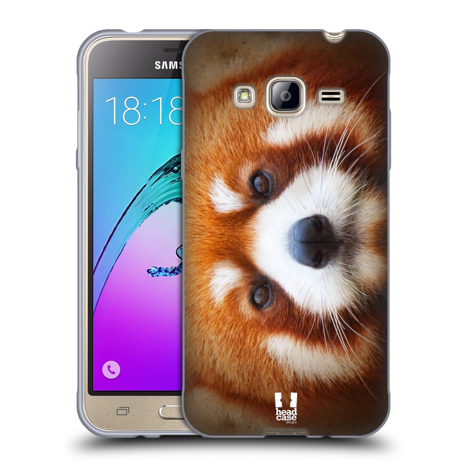 HEAD CASE silikonový obal na mobil Samsung Galaxy J3, J3 2016 vzor Zvířecí tváře 2 medvěd panda rudá