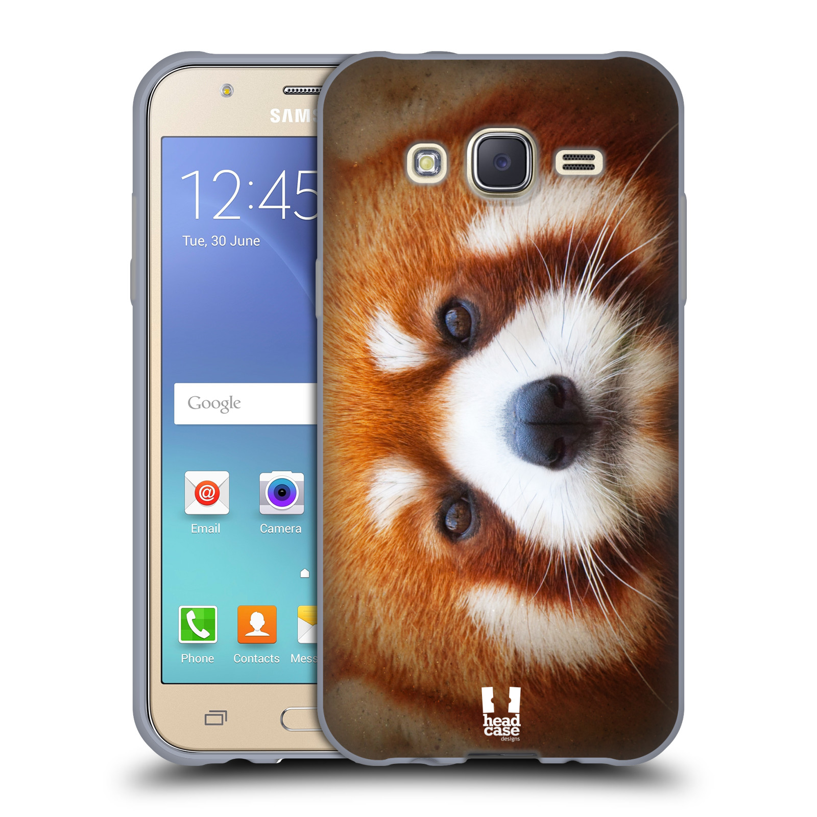 HEAD CASE silikonový obal na mobil Samsung Galaxy J5, J500, (J5 DUOS) vzor Zvířecí tváře 2 medvěd panda rudá