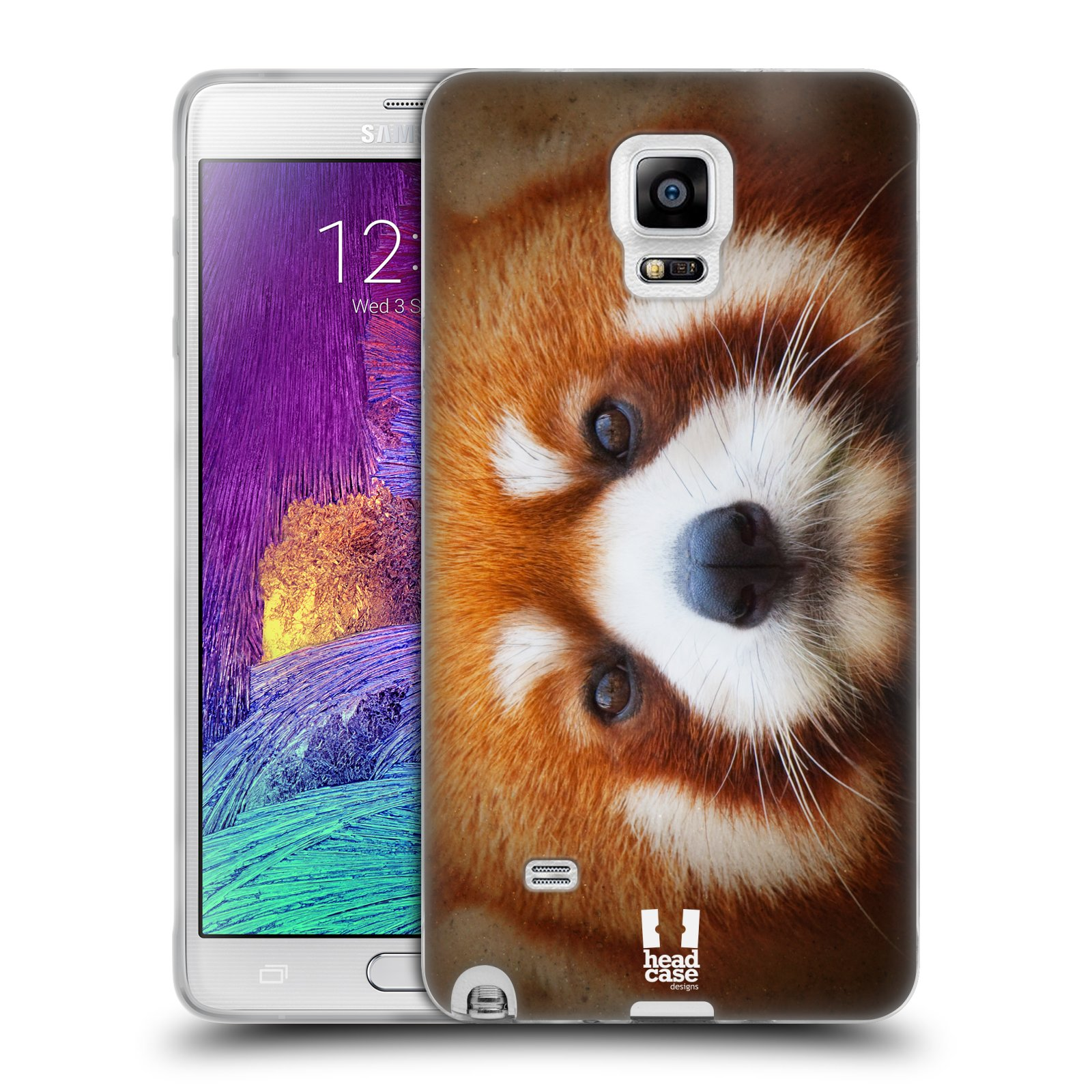 HEAD CASE silikonový obal na mobil Samsung Galaxy Note 4 (N910) vzor Zvířecí tváře 2 medvěd panda rudá