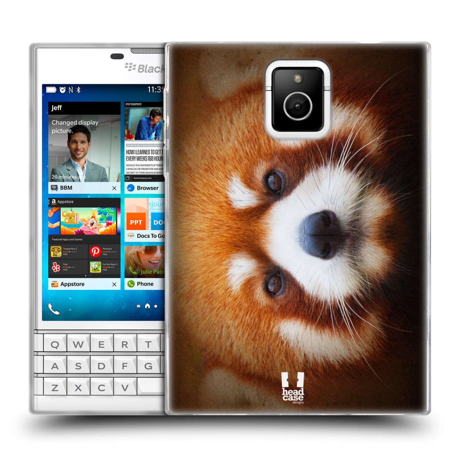 HEAD CASE silikonový obal na mobil Blackberry PASSPORT vzor Zvířecí tváře 2 medvěd panda rudá