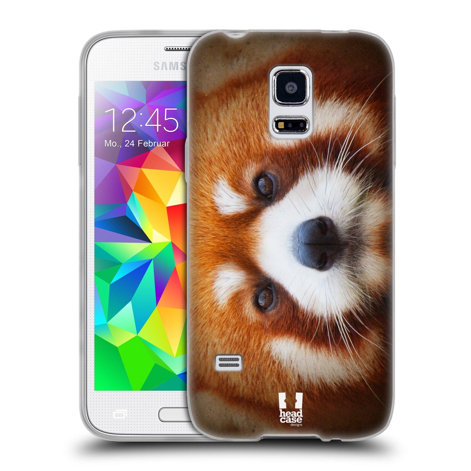 HEAD CASE silikonový obal na mobil Samsung Galaxy S5 MINI vzor Zvířecí tváře 2 medvěd panda rudá