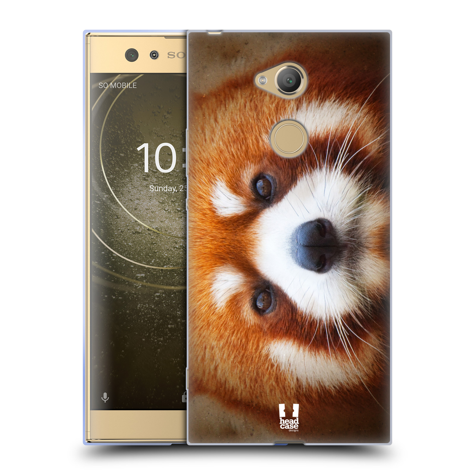 Pouzdro na mobil Sony Xperia XA2 Ultra vzor Zvířecí tváře 2 medvěd panda rudá