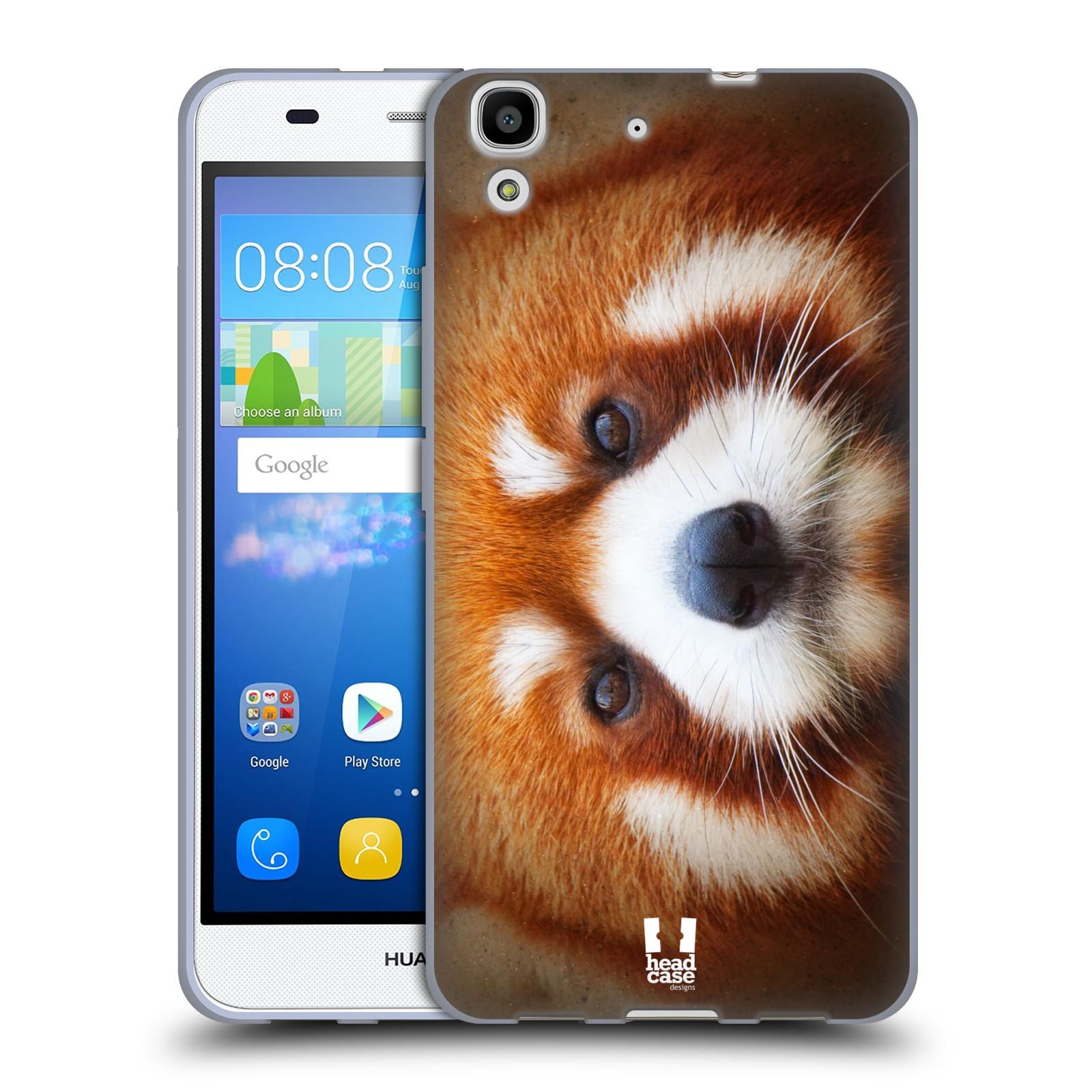 HEAD CASE silikonový obal na mobil HUAWEI Y6 vzor Zvířecí tváře 2 medvěd panda rudá