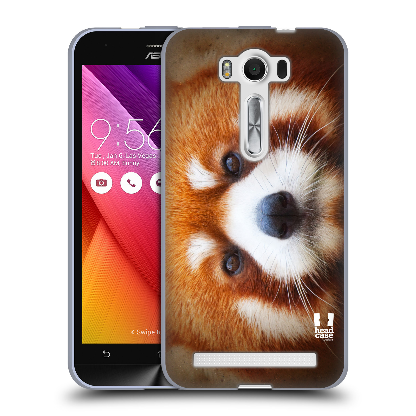 """HEAD CASE silikonový obal na mobil Asus Zenfone 2 LASER (ZE500KL s 5"""" displejem) vzor Zvířecí tváře 2 medvěd panda rudá"""