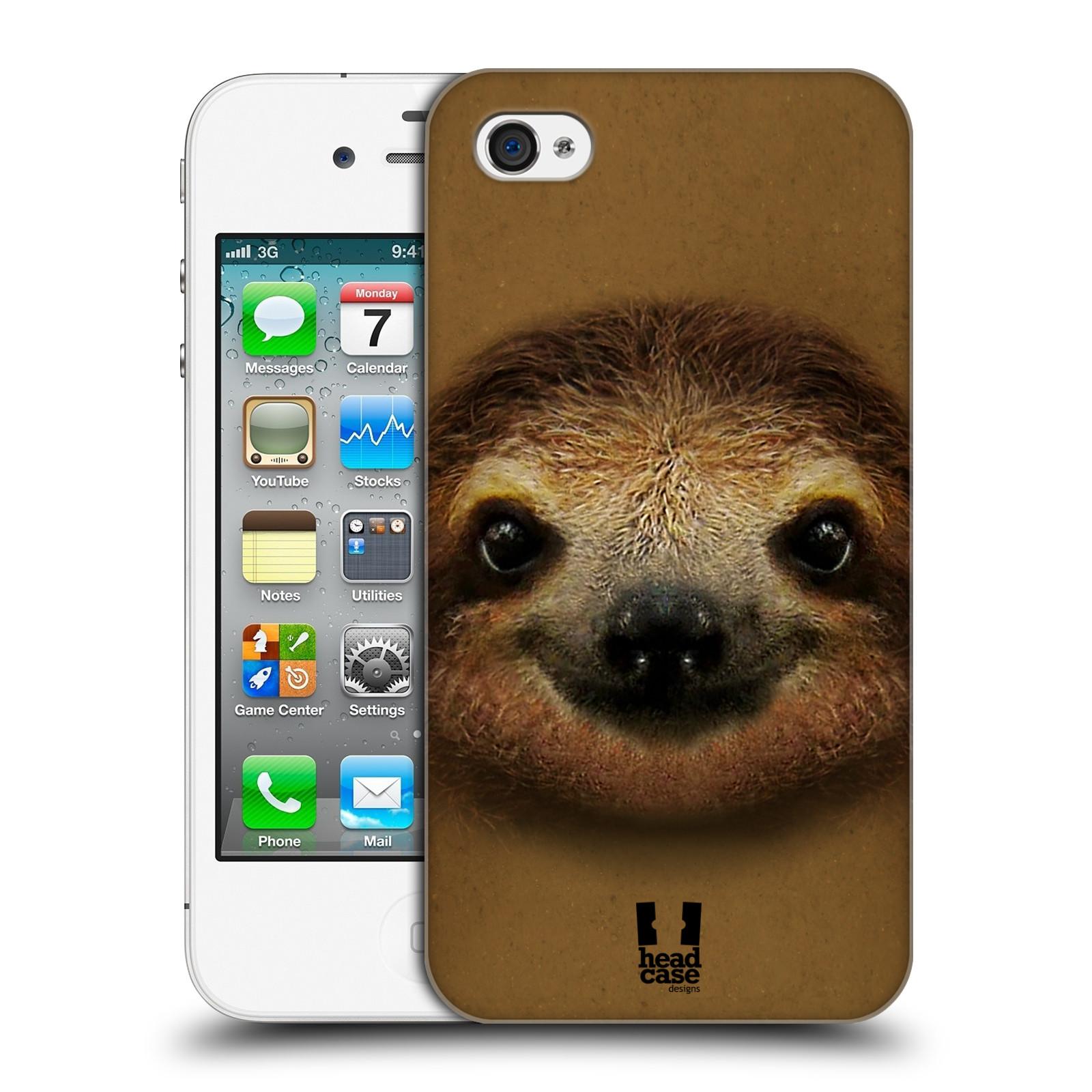 HEAD CASE plastový obal na mobil Apple Iphone 4/4S vzor Zvířecí tváře 2 lenochod
