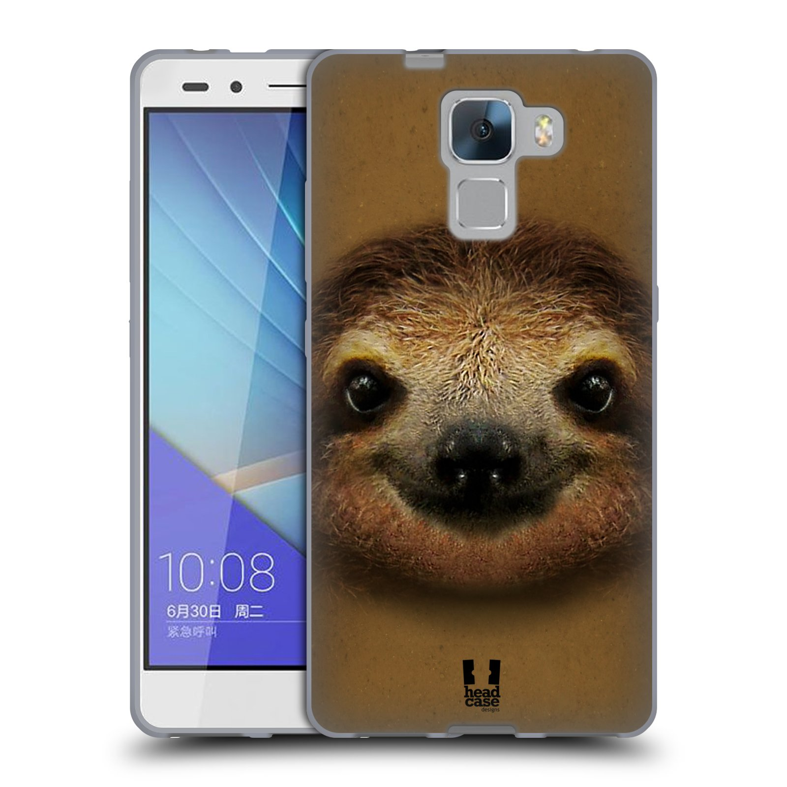 HEAD CASE silikonový obal na mobil HUAWEI HONOR 7 vzor Zvířecí tváře 2 lenochod