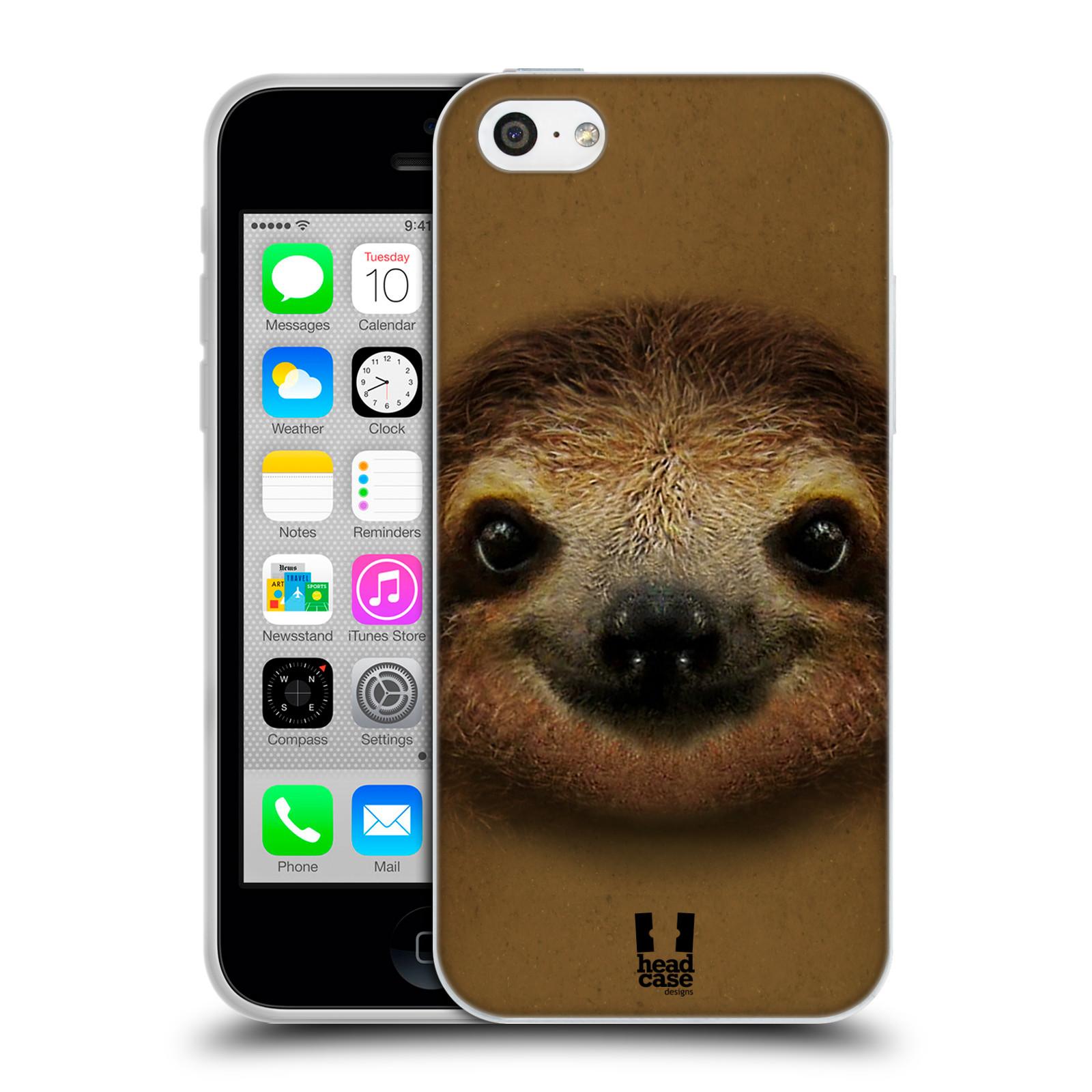 HEAD CASE silikonový obal na mobil Apple Iphone 5C vzor Zvířecí tváře 2 lenochod