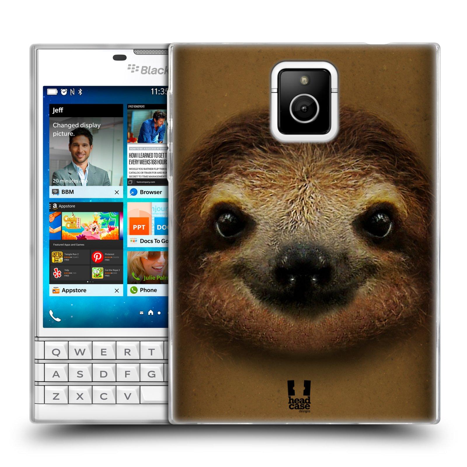 HEAD CASE silikonový obal na mobil Blackberry PASSPORT vzor Zvířecí tváře 2 lenochod