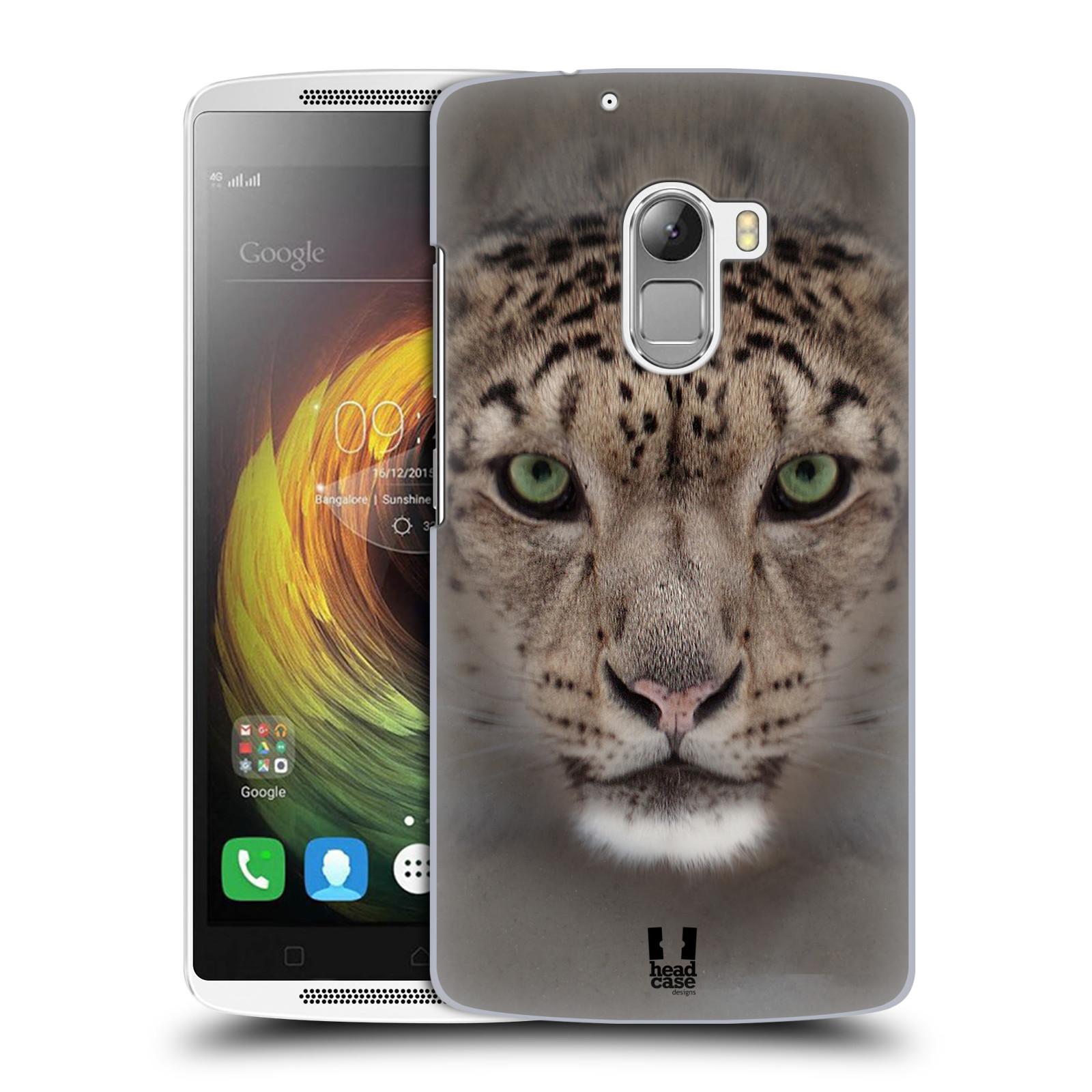 HEAD CASE pevný plastový obal na mobil LENOVO A7010 / A7010 DUAL / K4 Note / Vibe X3 lite vzor Zvířecí tváře 2 sněžný leopard