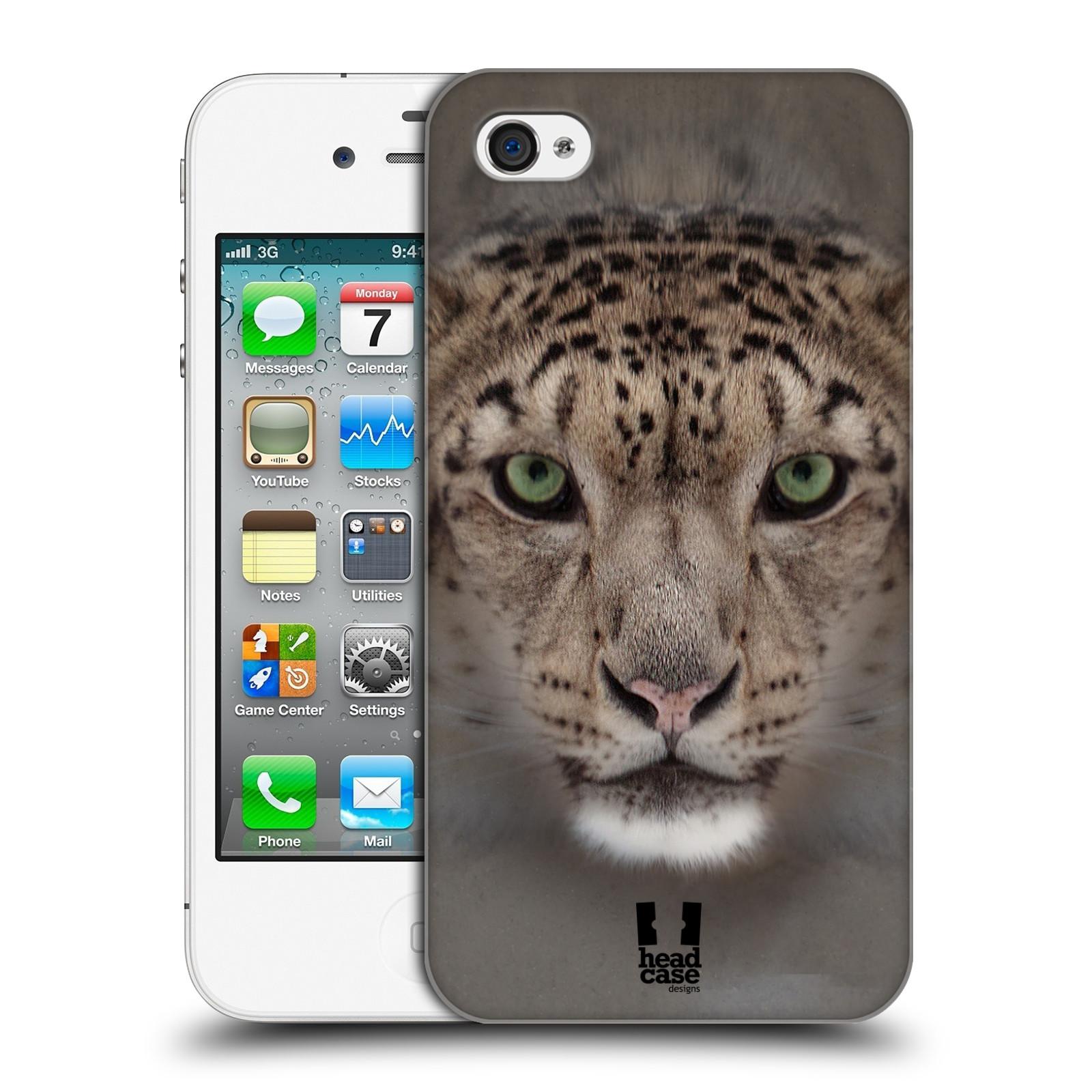HEAD CASE plastový obal na mobil Apple Iphone 4/4S vzor Zvířecí tváře 2 sněžný leopard