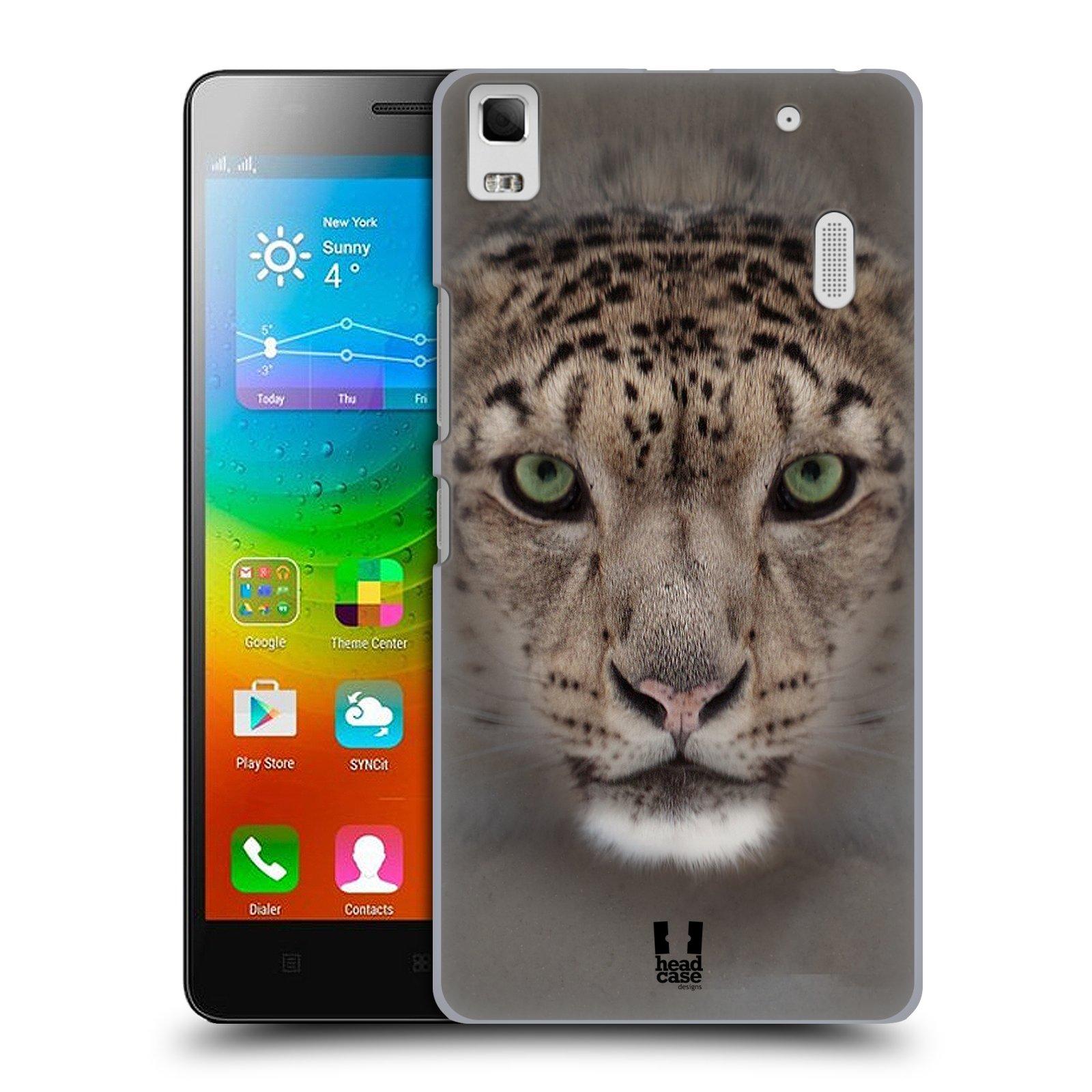 HEAD CASE pevný plastový obal na mobil LENOVO A7000 / A7000 DUAL / K3 NOTE vzor Zvířecí tváře 2 sněžný leopard