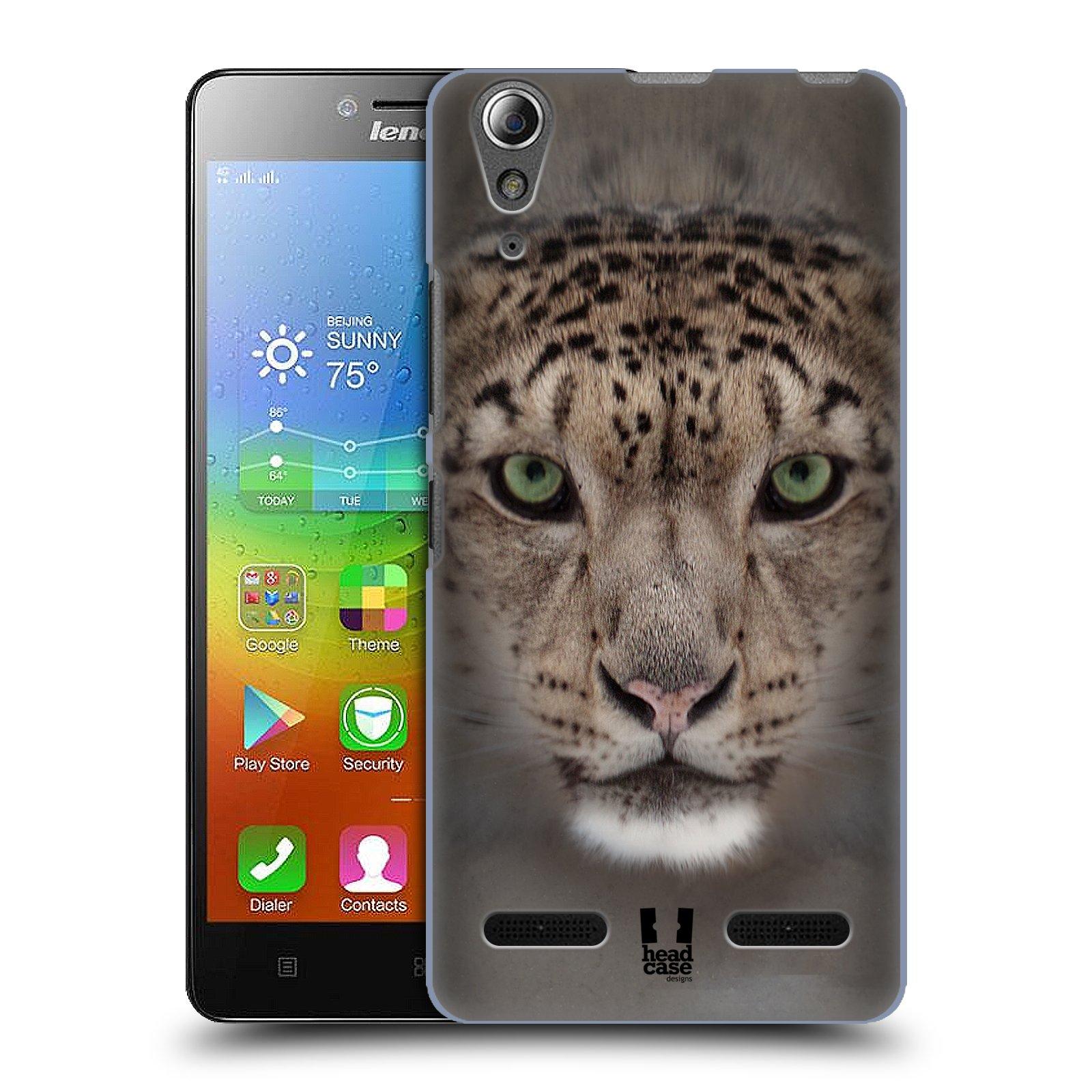 HEAD CASE pevný plastový obal na mobil LENOVO A6000 / A6000 PLUS vzor Zvířecí tváře 2 sněžný leopard
