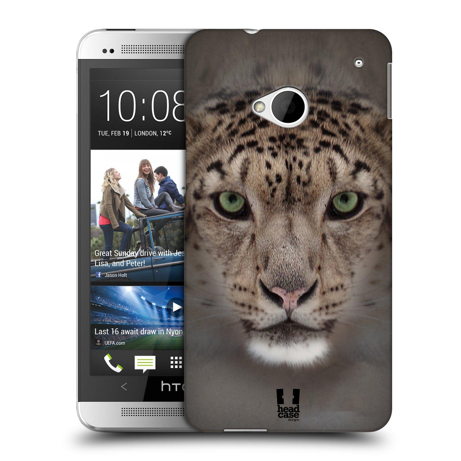 HEAD CASE plastový obal na mobil HTC One (M7) vzor Zvířecí tváře 2 sněžný leopard