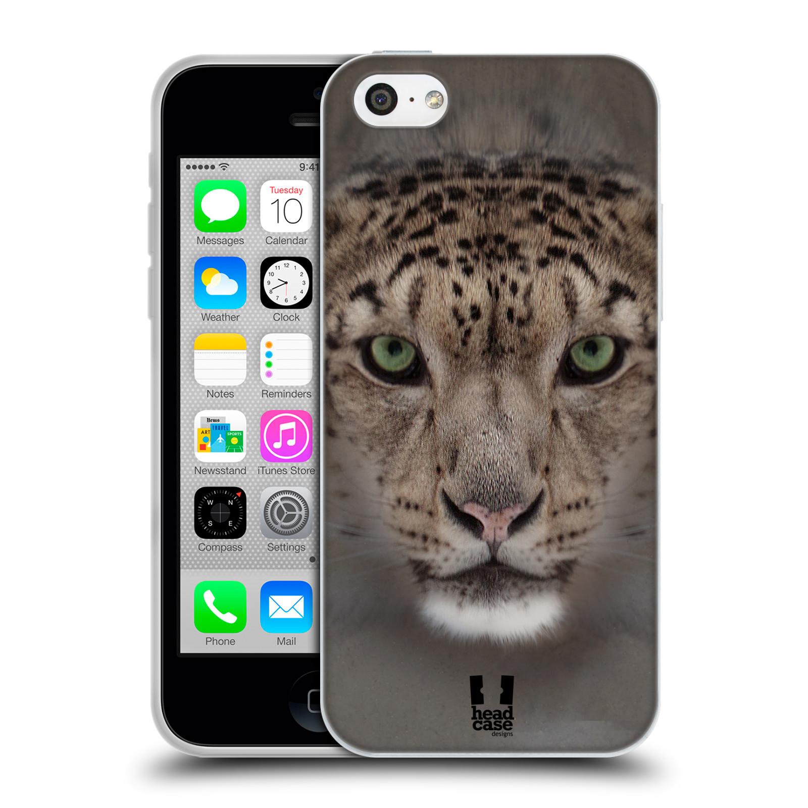 HEAD CASE silikonový obal na mobil Apple Iphone 5C vzor Zvířecí tváře 2 sněžný leopard