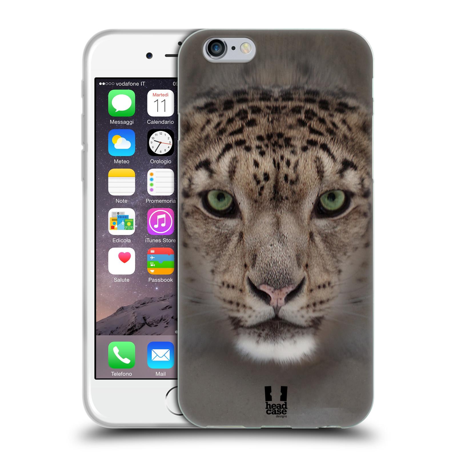 HEAD CASE silikonový obal na mobil Apple Iphone 6/6S vzor Zvířecí tváře 2 sněžný leopard
