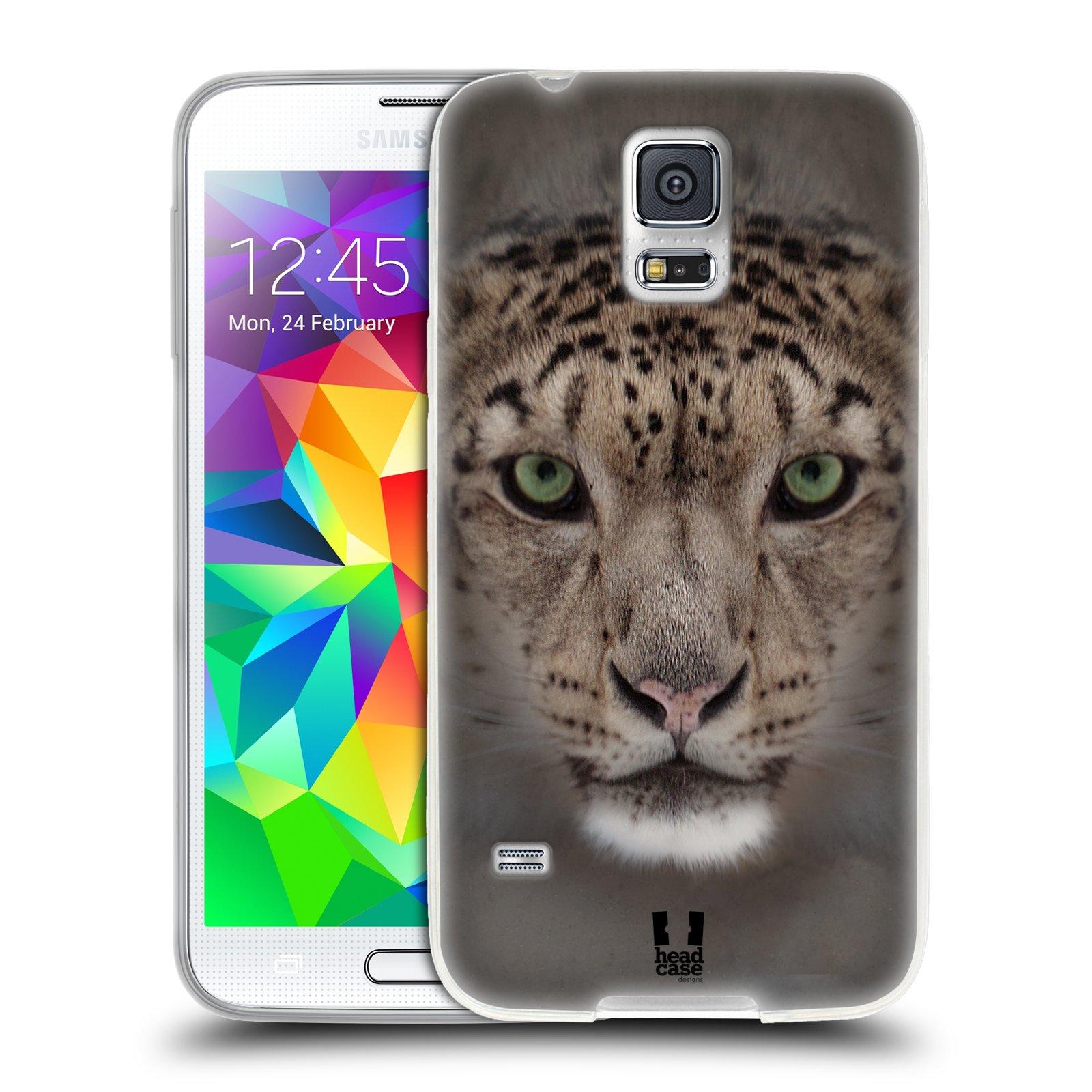 HEAD CASE silikonový obal na mobil Samsung Galaxy S5/S5 NEO vzor Zvířecí tváře 2 sněžný leopard