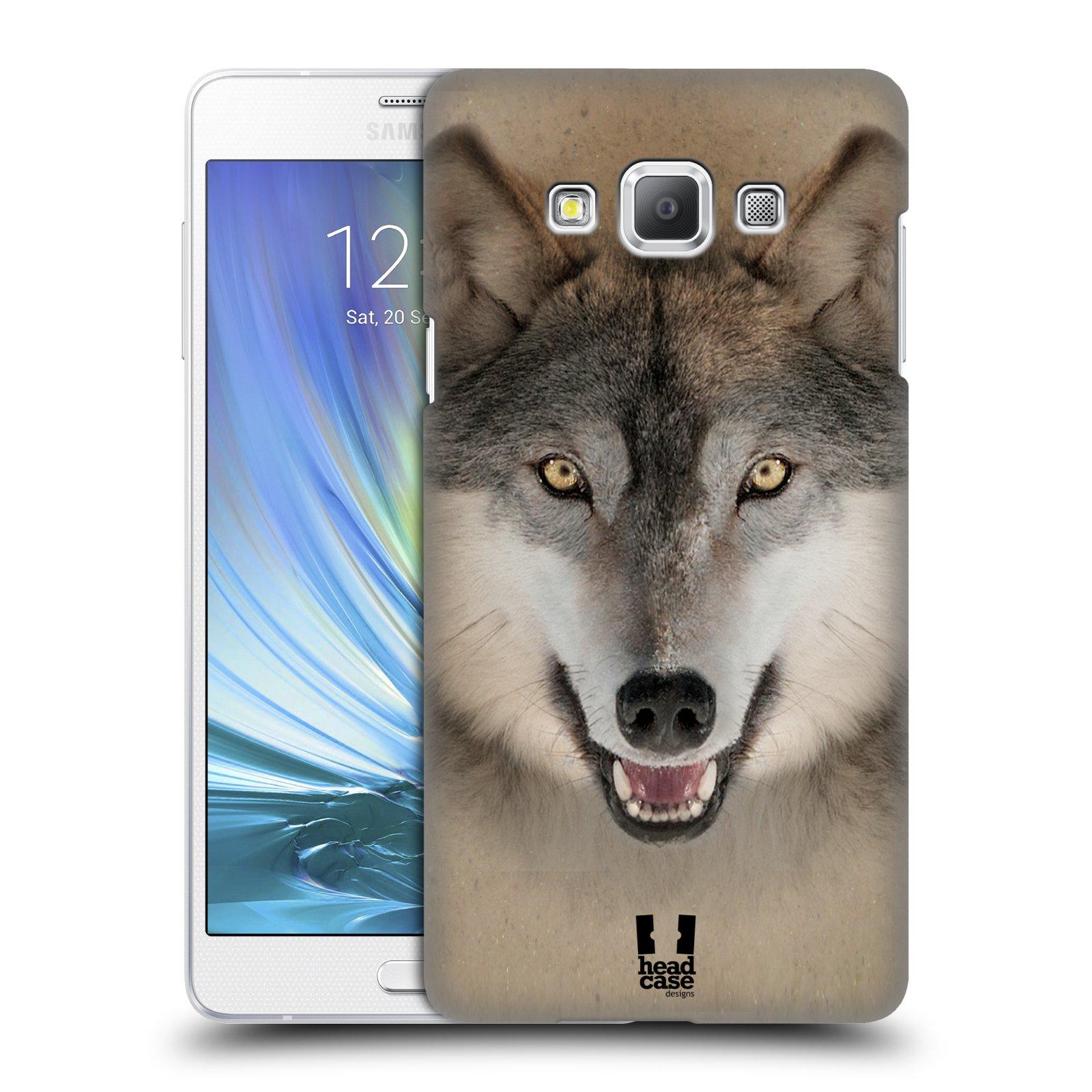 HEAD CASE plastový obal na mobil SAMSUNG GALAXY A7 vzor Zvířecí tváře 2 vlk šedý
